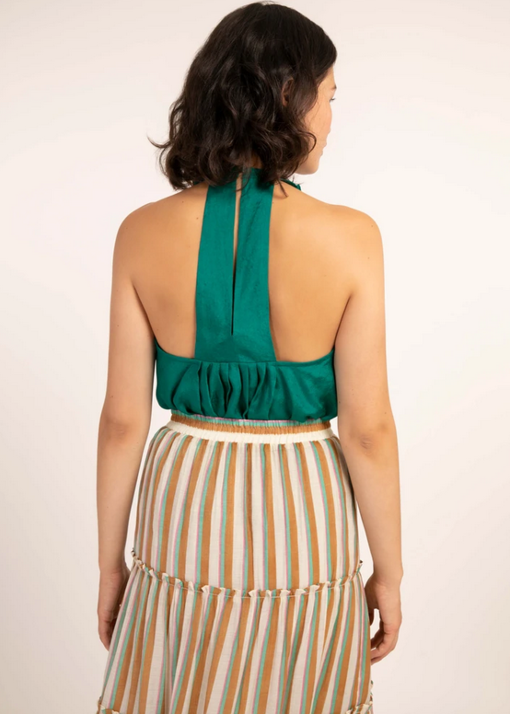 Elitaire Boutique Carvi Woven Top in Emerald