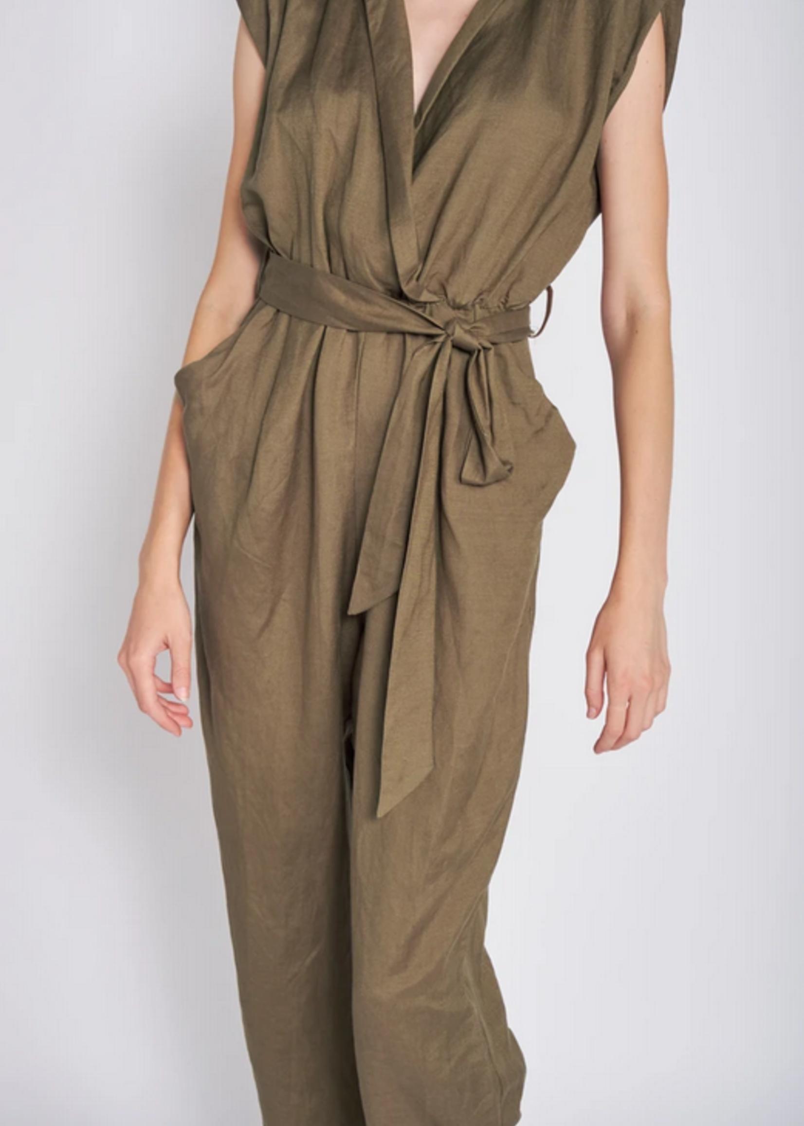 Elitaire Boutique Olive Linen Jumpsuit