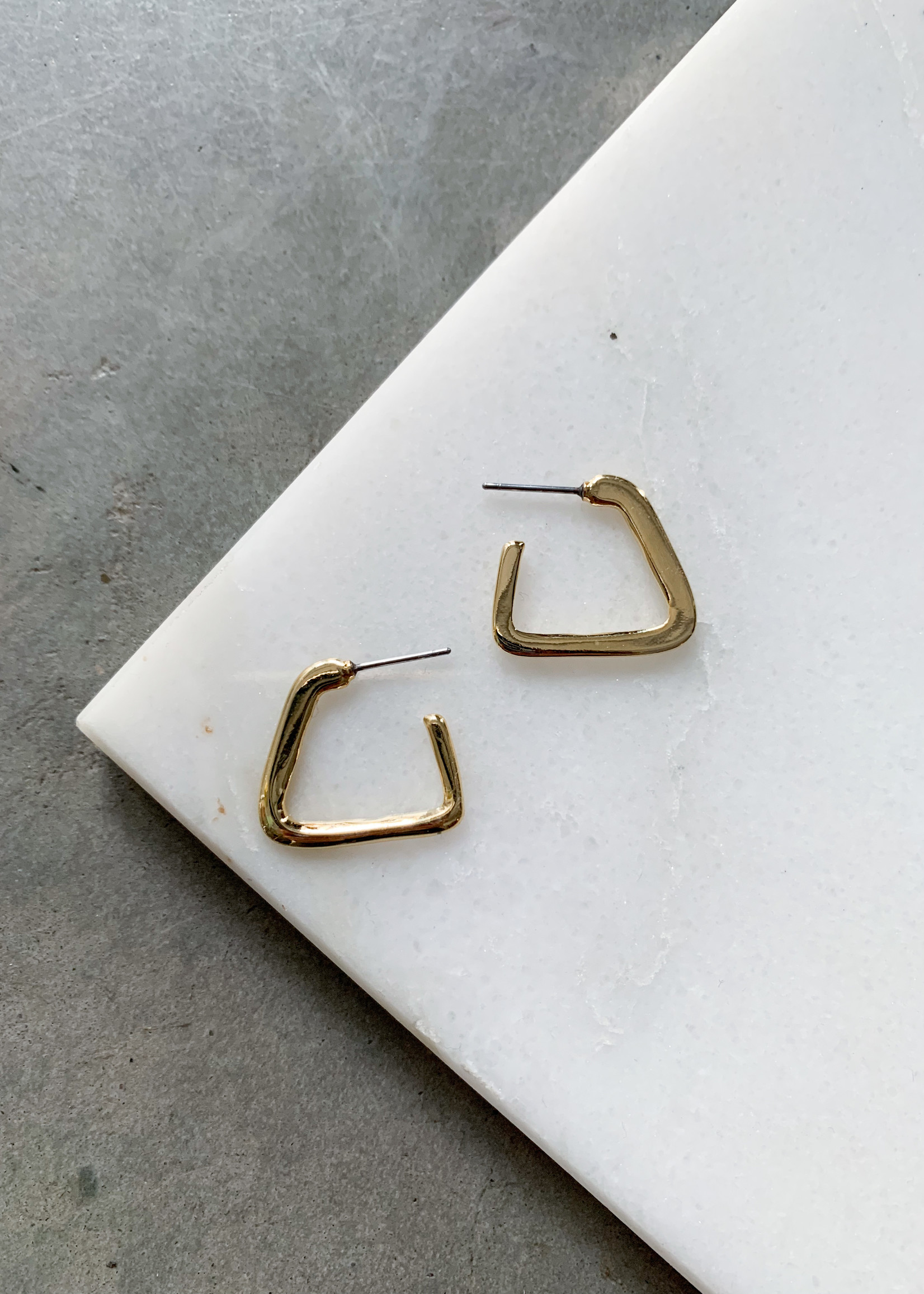 Elitaire Boutique Open Triangle Gold Hoops