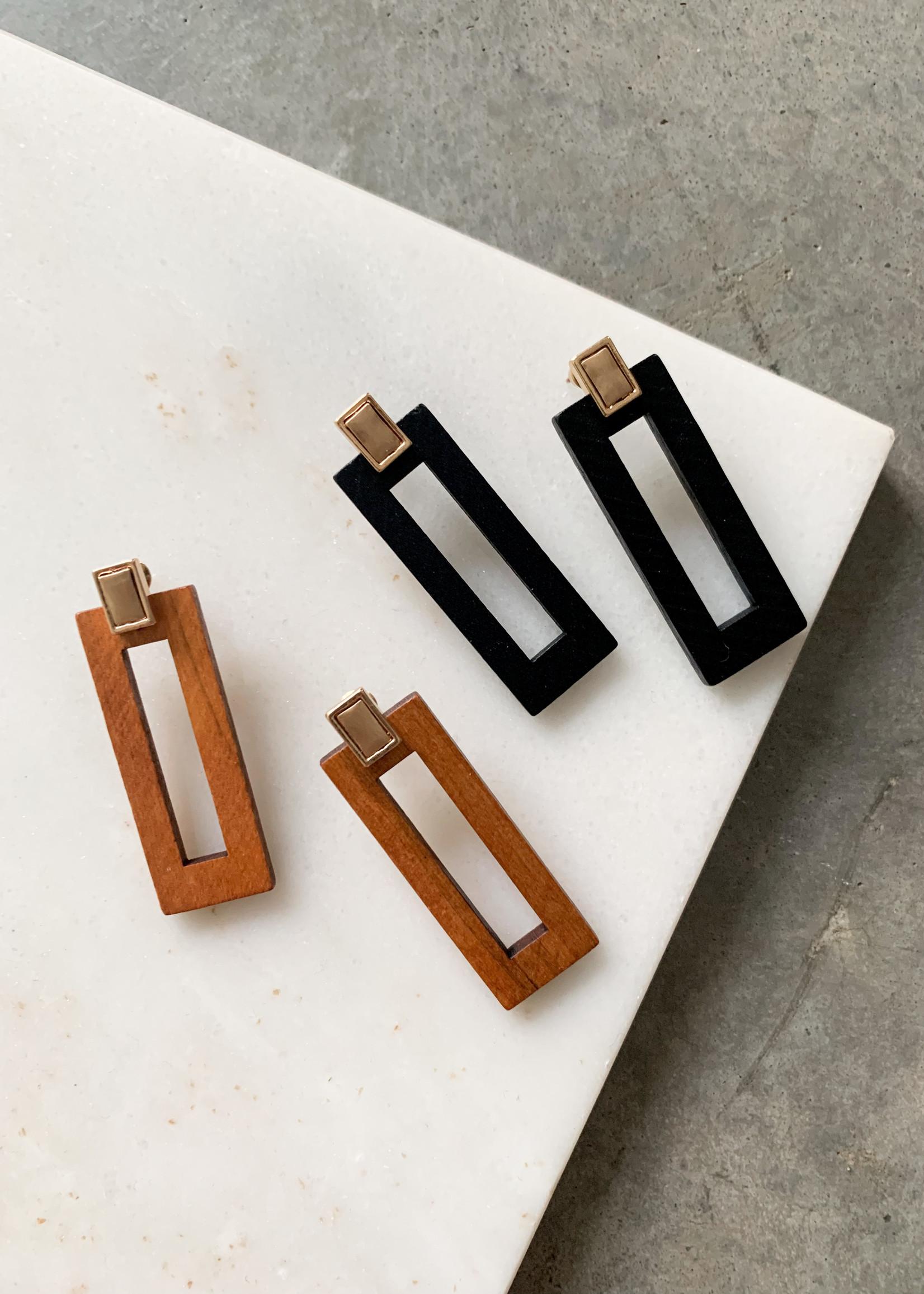 Elitaire Boutique Wood Rectangle Earrings