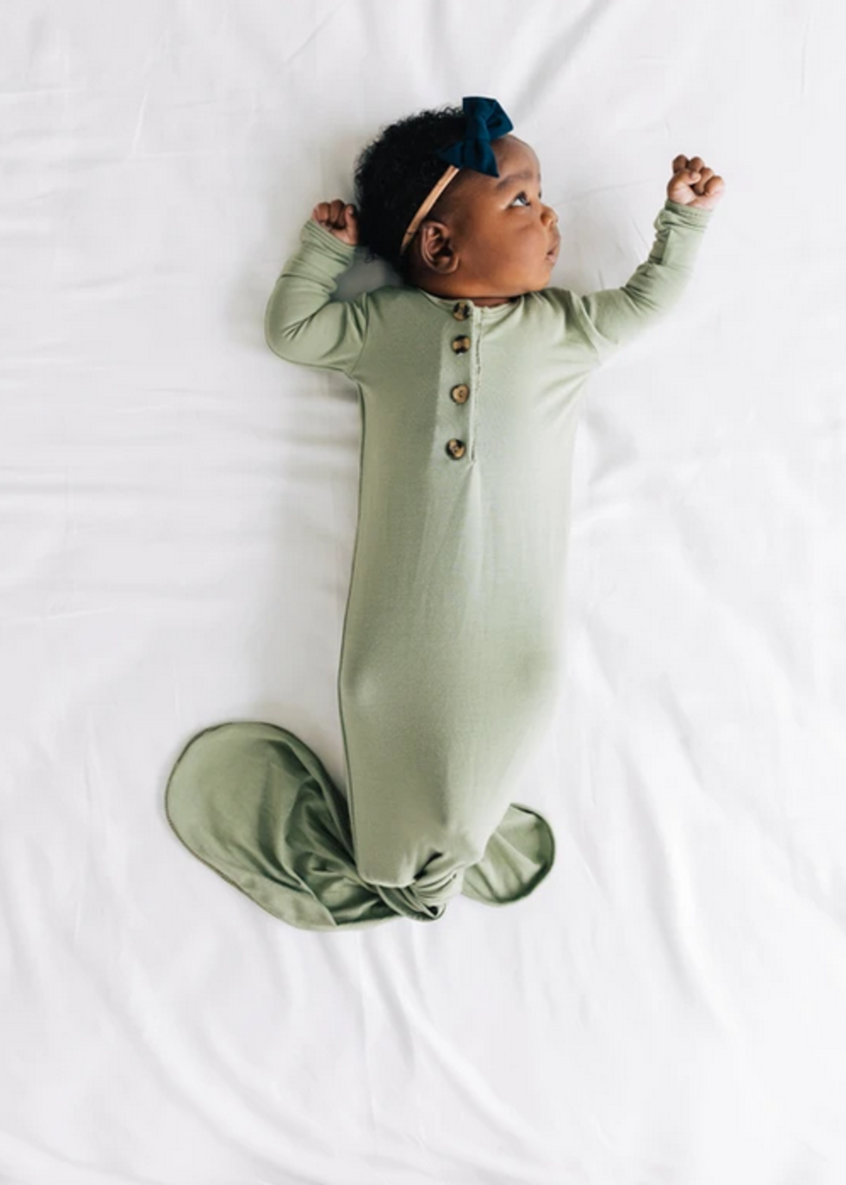 Elitaire Petite Marley Sage Knotted Gown Newborn - 3 Months