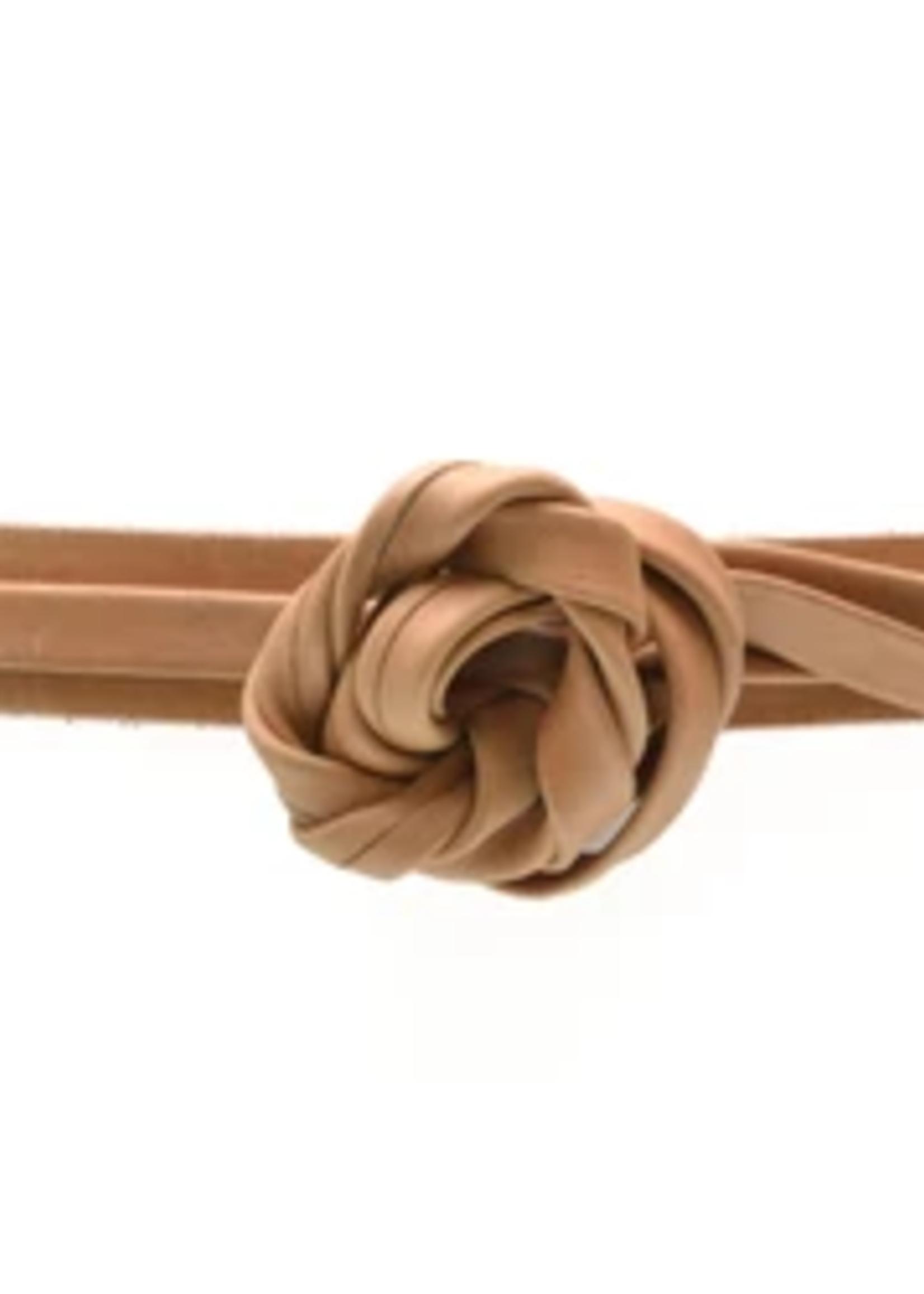 Elitaire Boutique Skinny Wrap Belt - Cognac