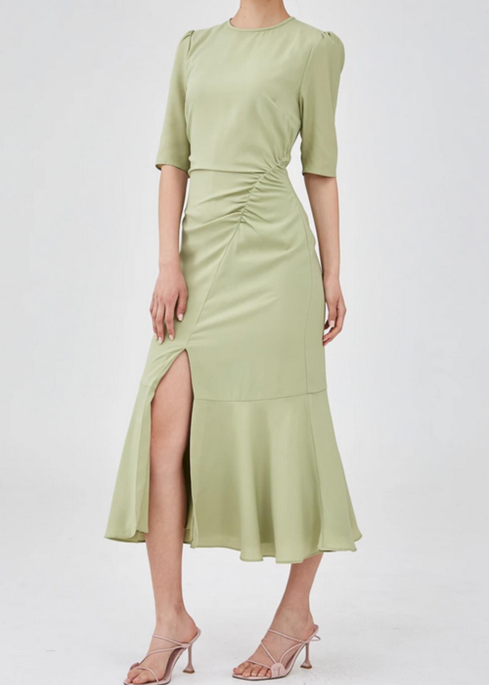 Elitaire Boutique Ruins Midi Dress In Sage