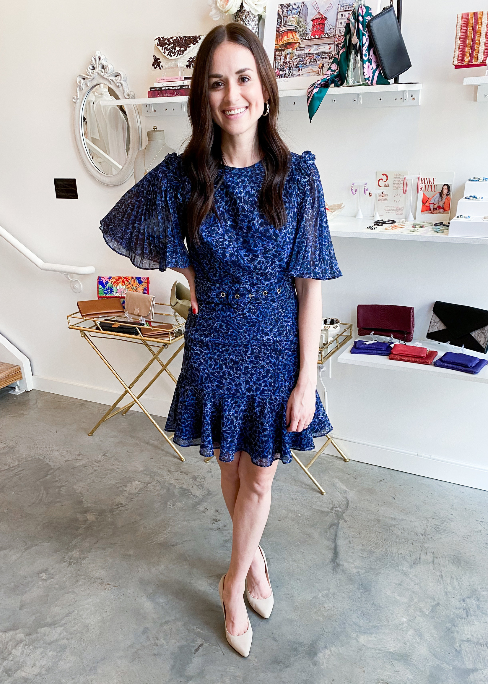 Elitaire Boutique Ruins Dress in French Navy