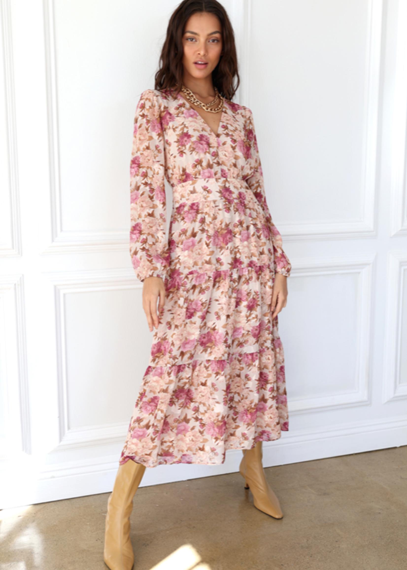 Elitaire Boutique Susanne Rose Floral Midi Dress