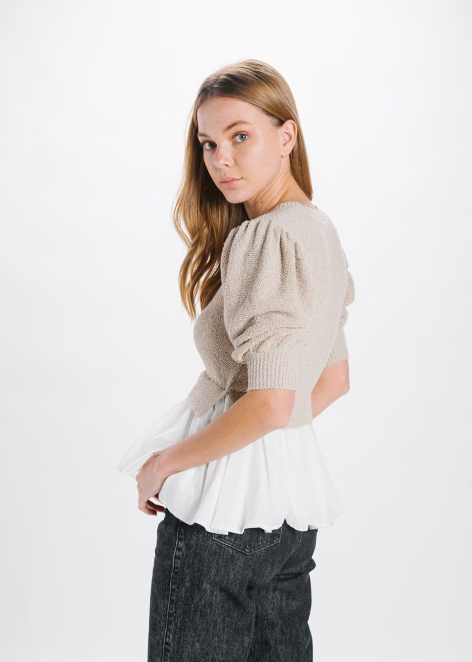 Elitaire Boutique Mixed Media Top in Natural