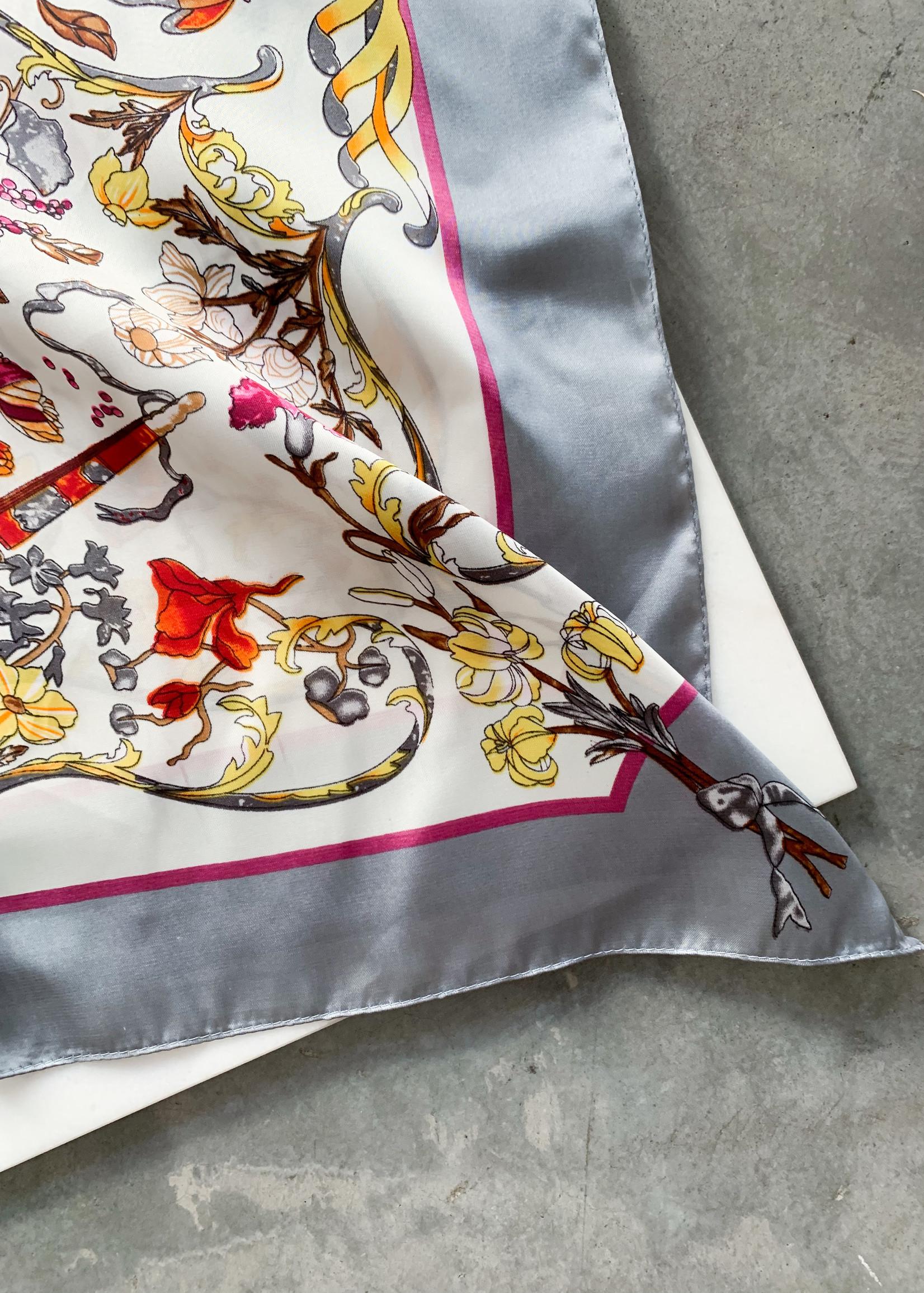 Elitaire Boutique Grey Floral & Bird Silky Bandana Scarf