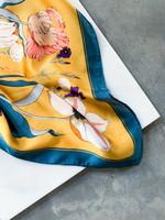 Elitaire Boutique Mustard Floral Silky Bandana Scarf
