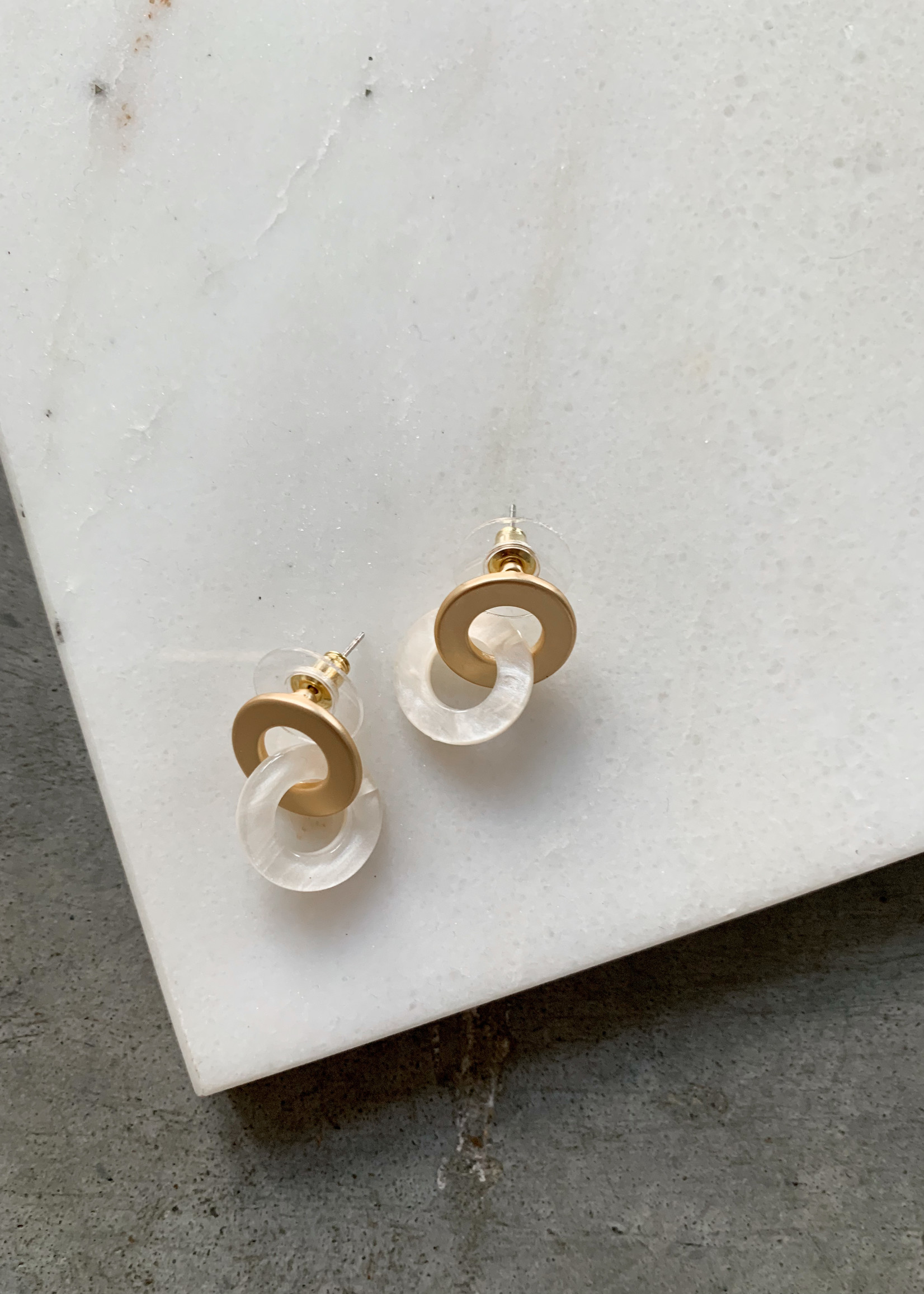 Elitaire Boutique Acrylic + Metal Double Ring Studs