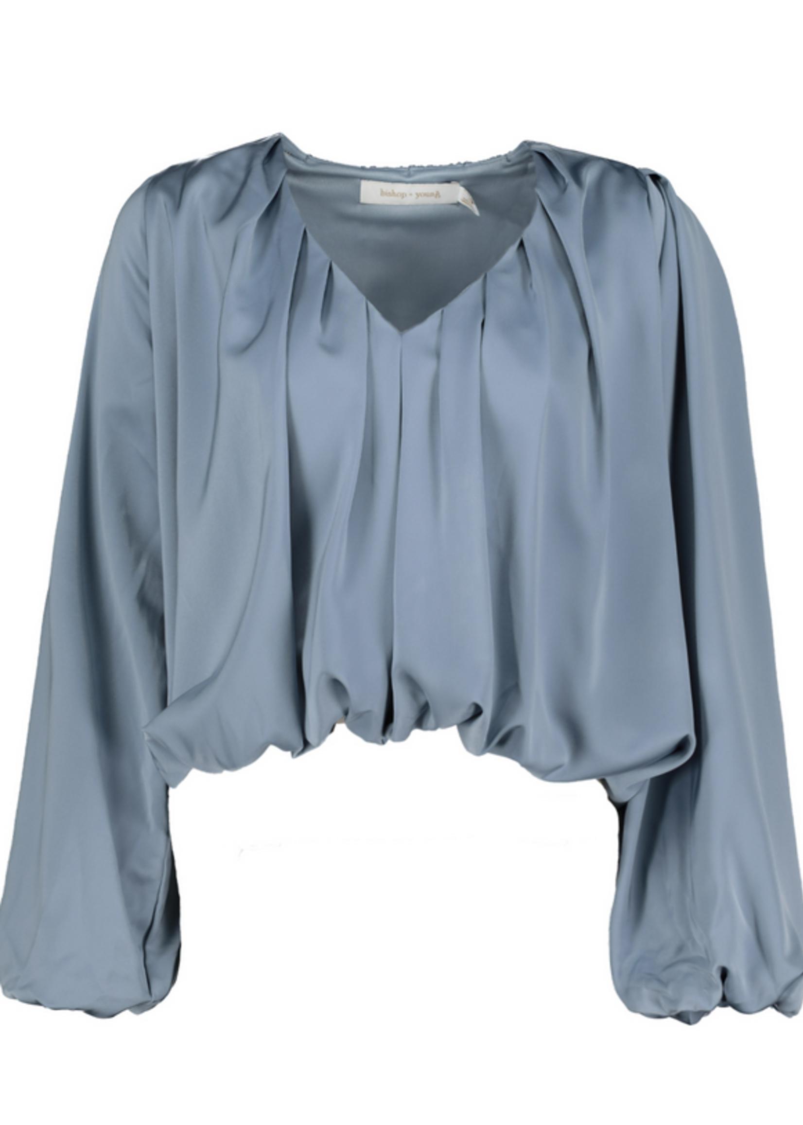 Elitaire Boutique Bubble Sleeve Top in Slate Blue