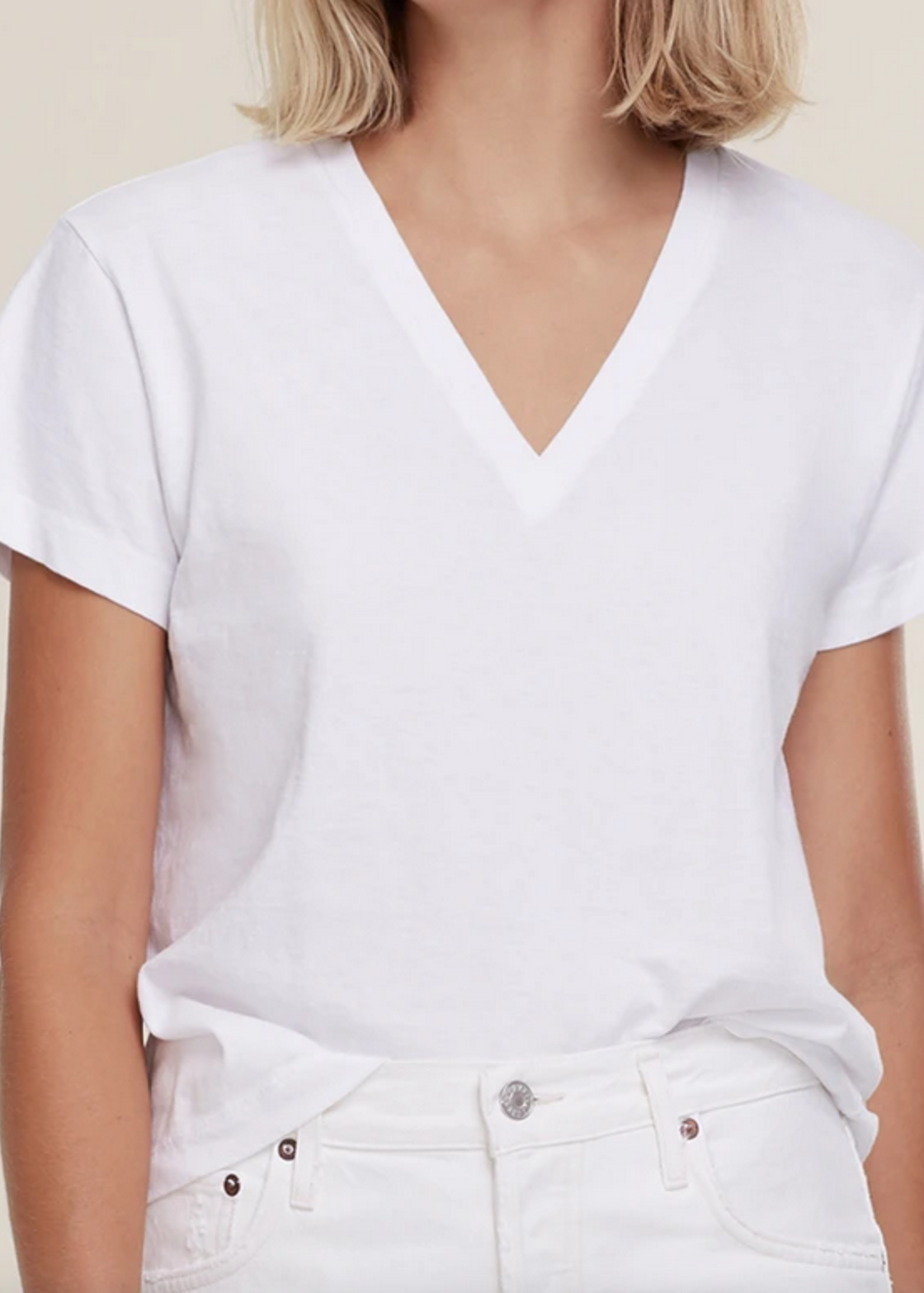 Elitaire Boutique Thea V Neck Tee in White