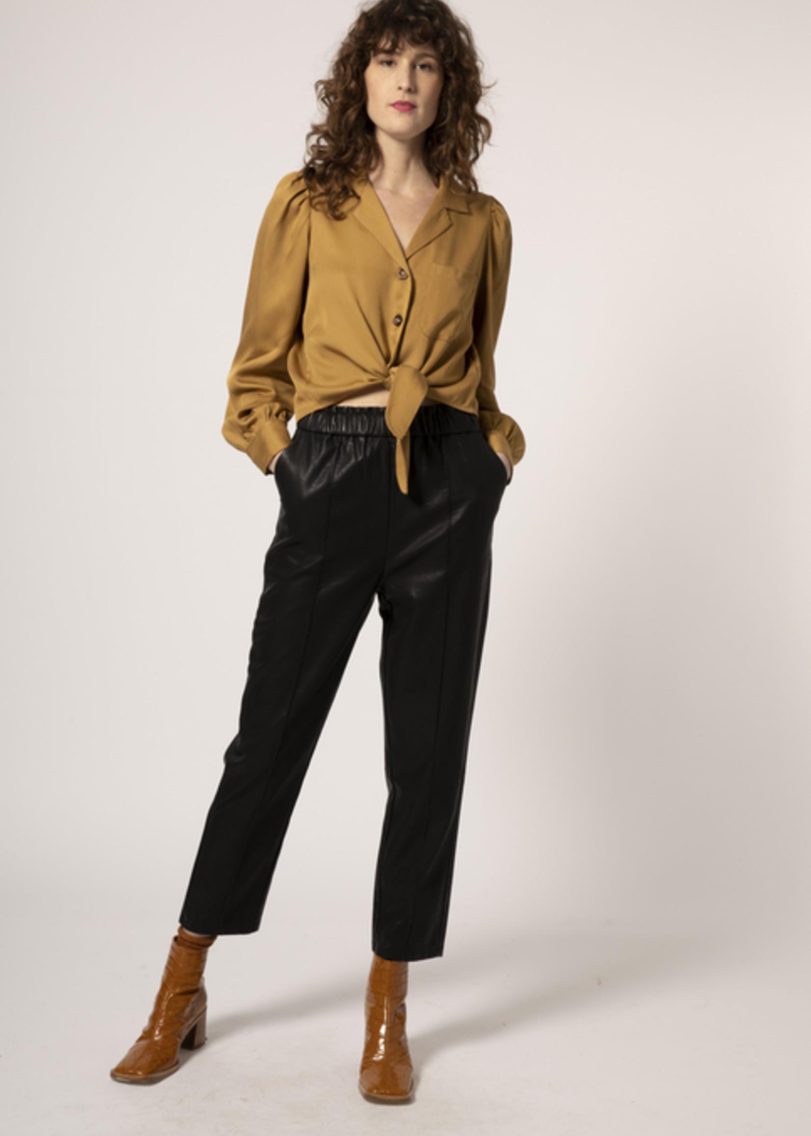 Elitaire Boutique Casablanca Tie-Front Button Up in Ocre