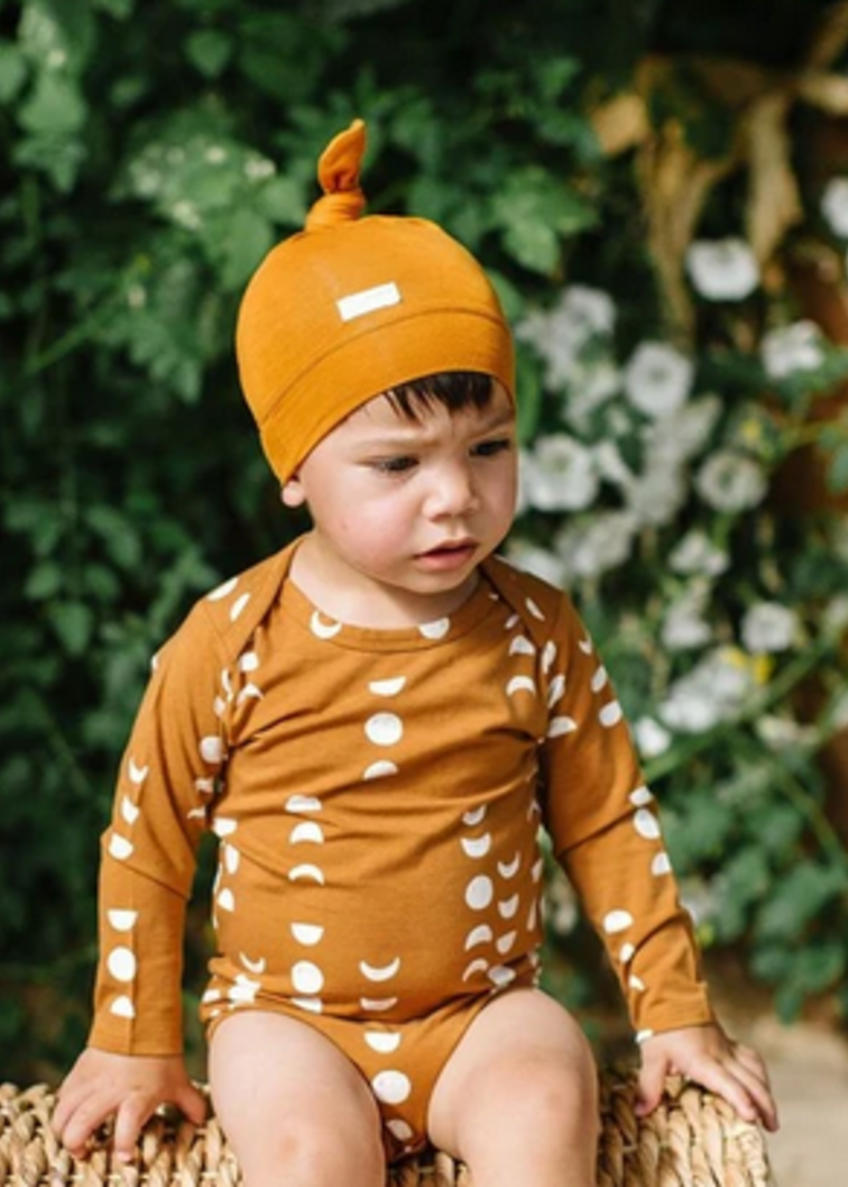 Elitaire Petite Top Knot Beanie in Ginger Honey