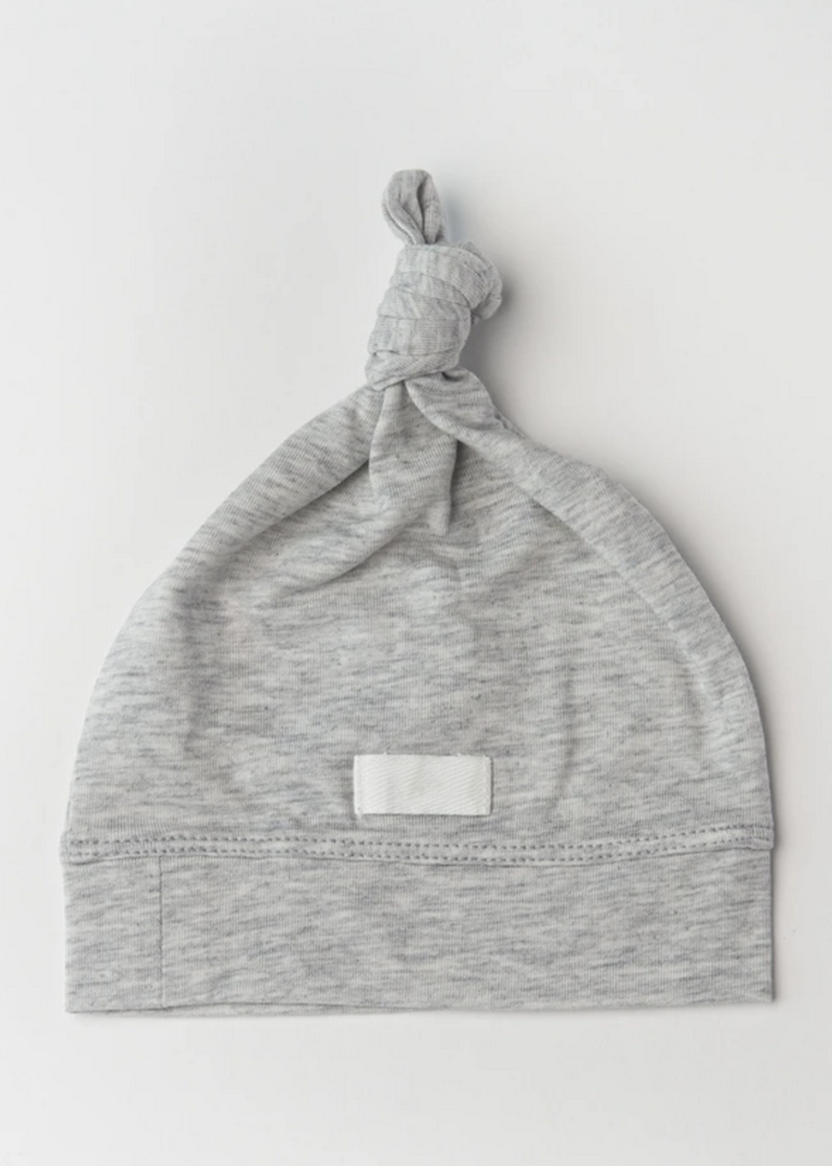 Elitaire Petite Top Knot Beanie in Heather Grey