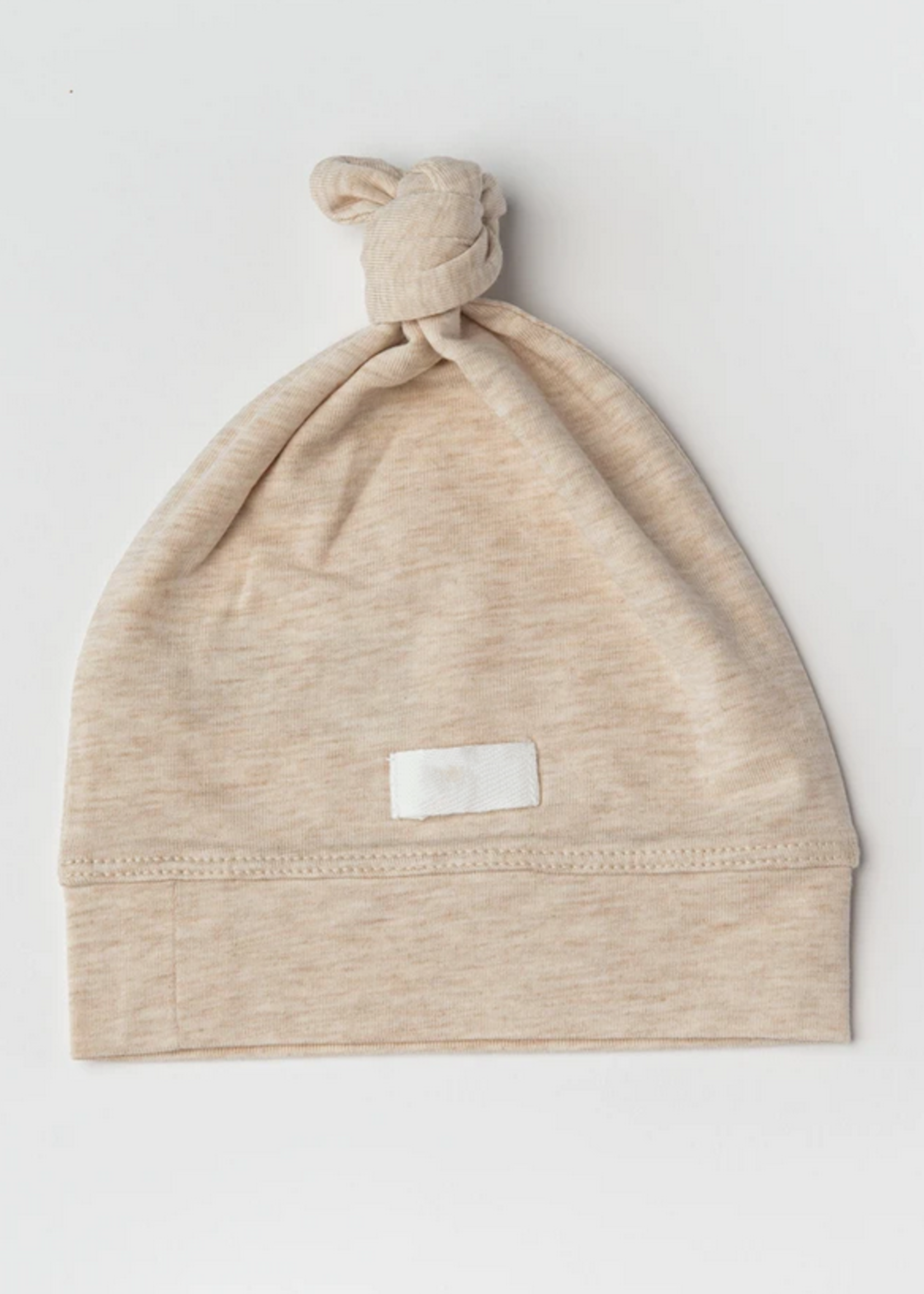 Elitaire Petite Top Knot Beanie in Oatmeal