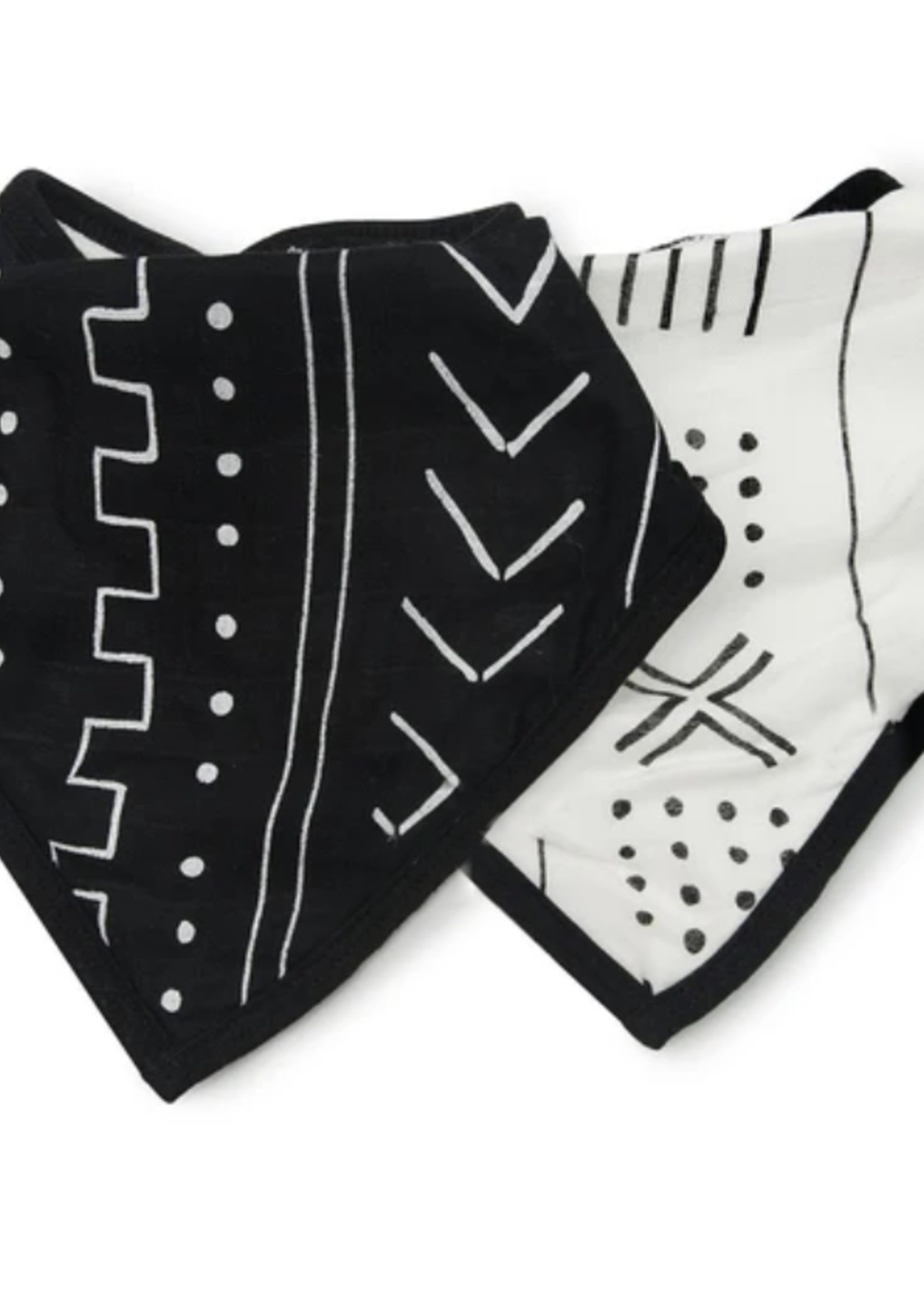 Elitaire Petite Bandana Bib Set - Black Mudcloth