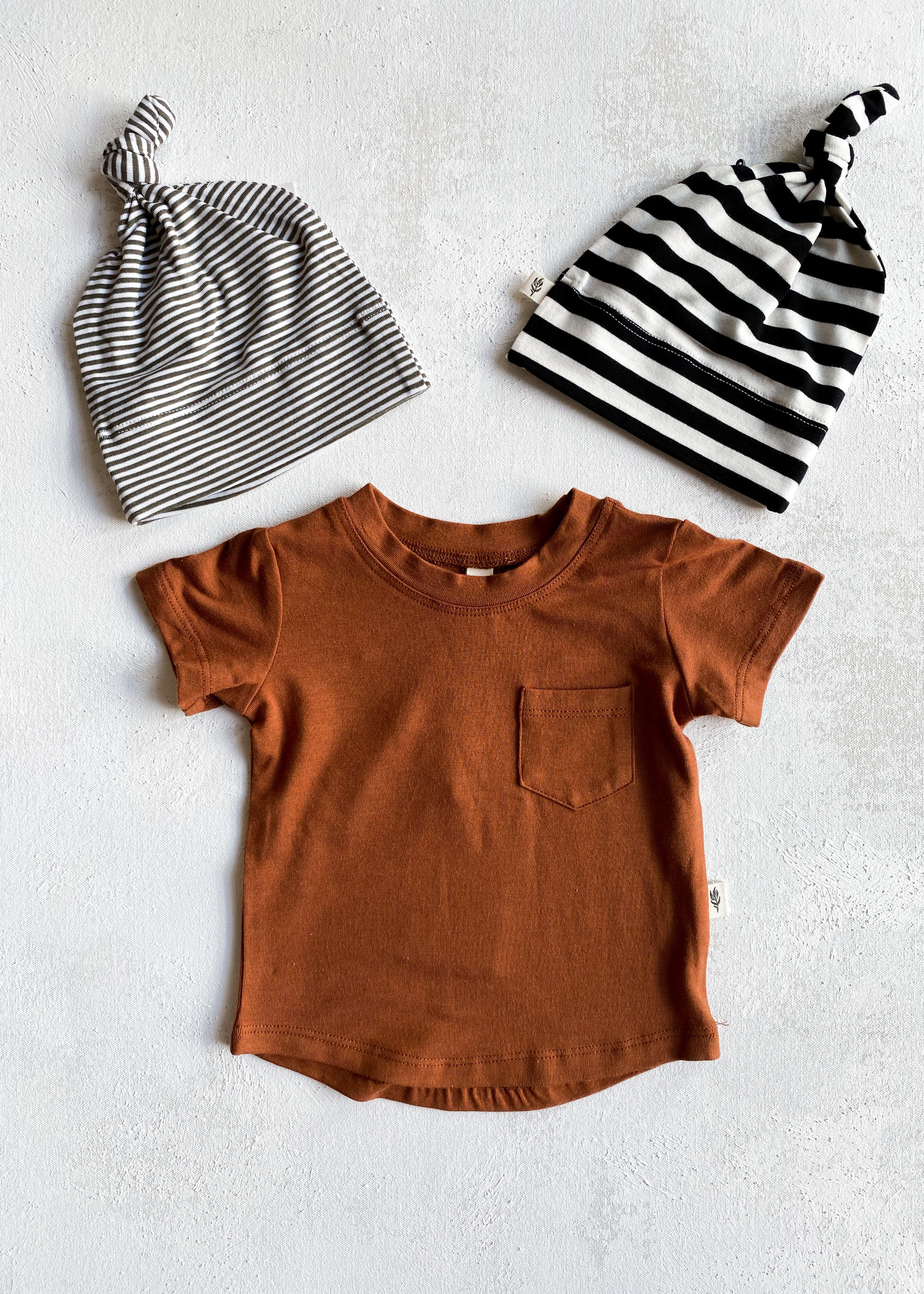 Elitaire Petite Black & White Stripe Knotted Beanie