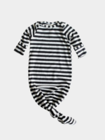 Elitaire Petite Black & White Striped Knotted Gown