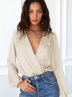 Elitaire Boutique After Hours Sateen Bodysuit in Cream