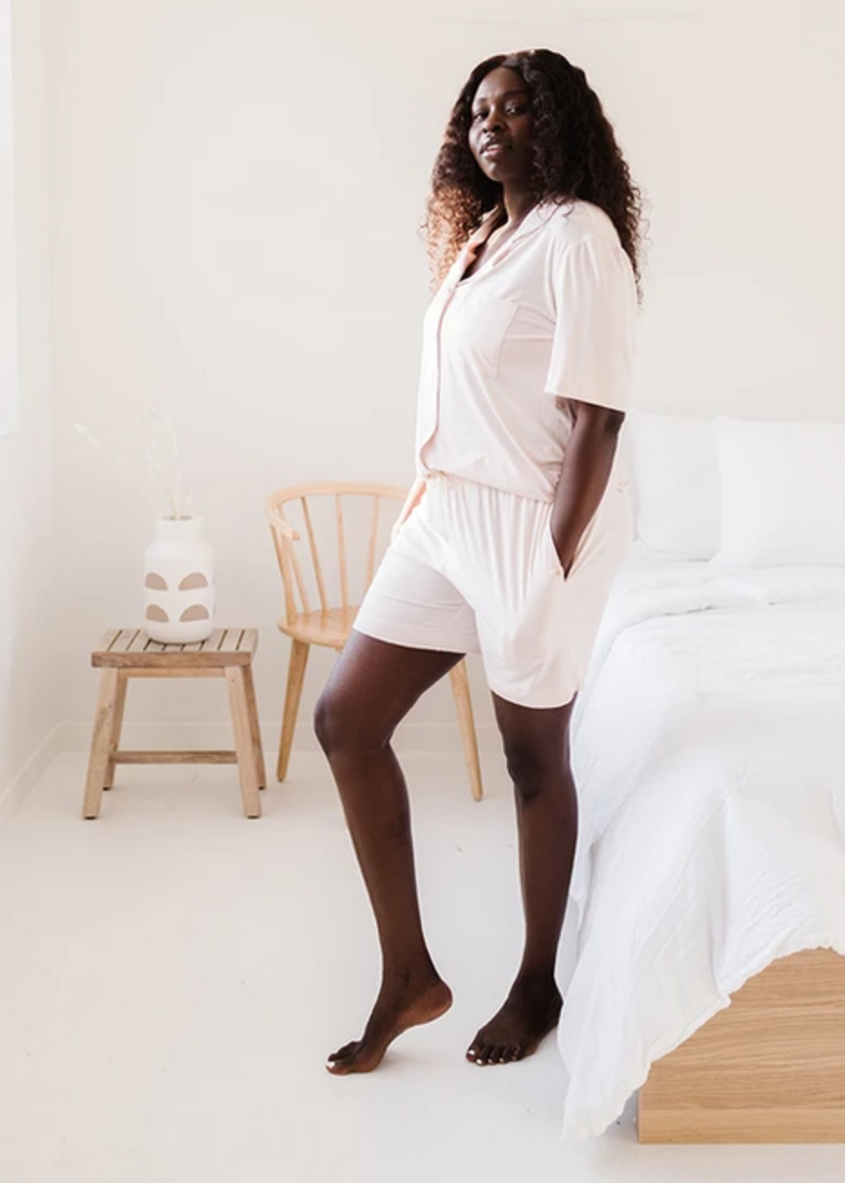Elitaire Boutique Short Sleeve Dream Set in Blush