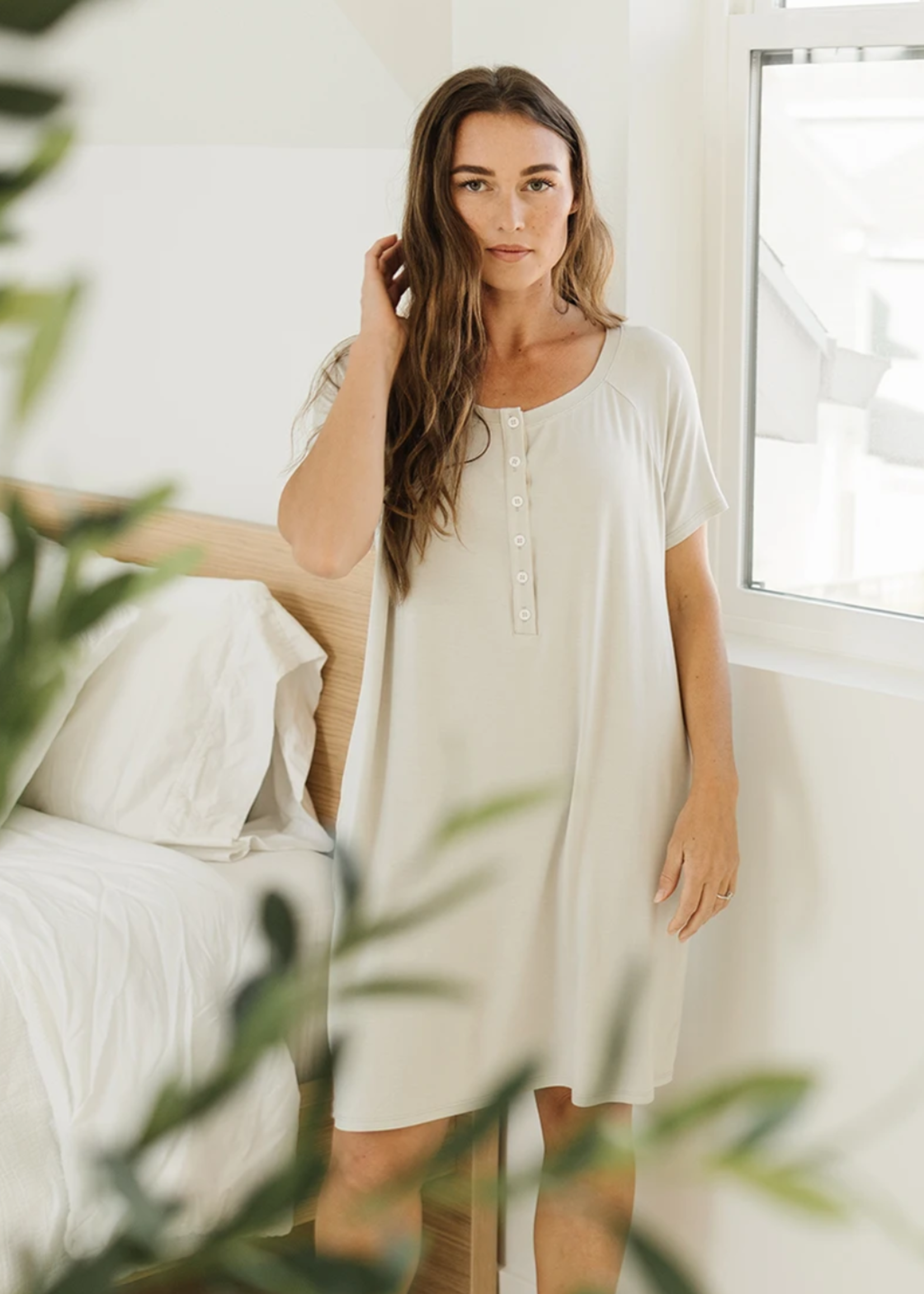 Elitaire Petite Classic Sleep Shirt Grey