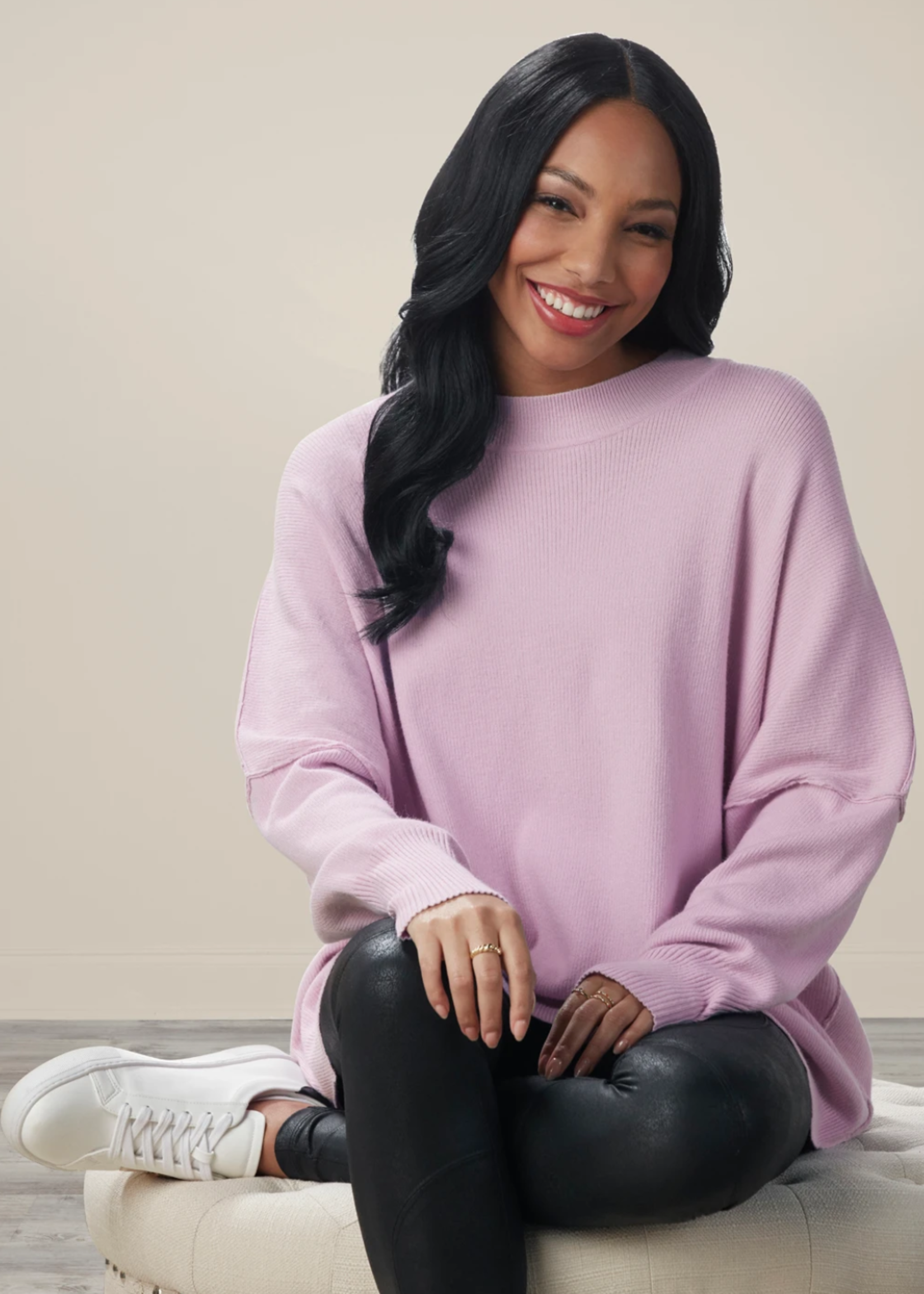 Elitaire Boutique Astrid Ribbed Sweater in Lilac