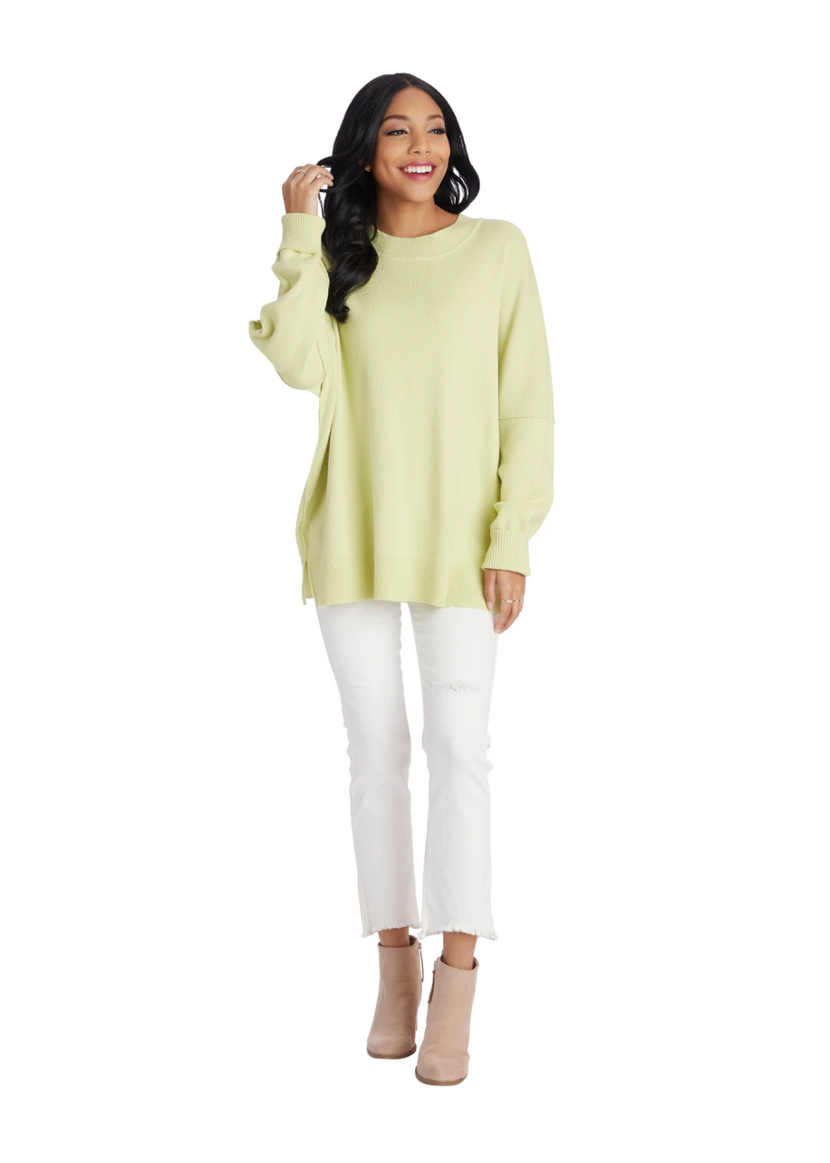Elitaire Boutique Astrid Ribbed Sweater in Lime