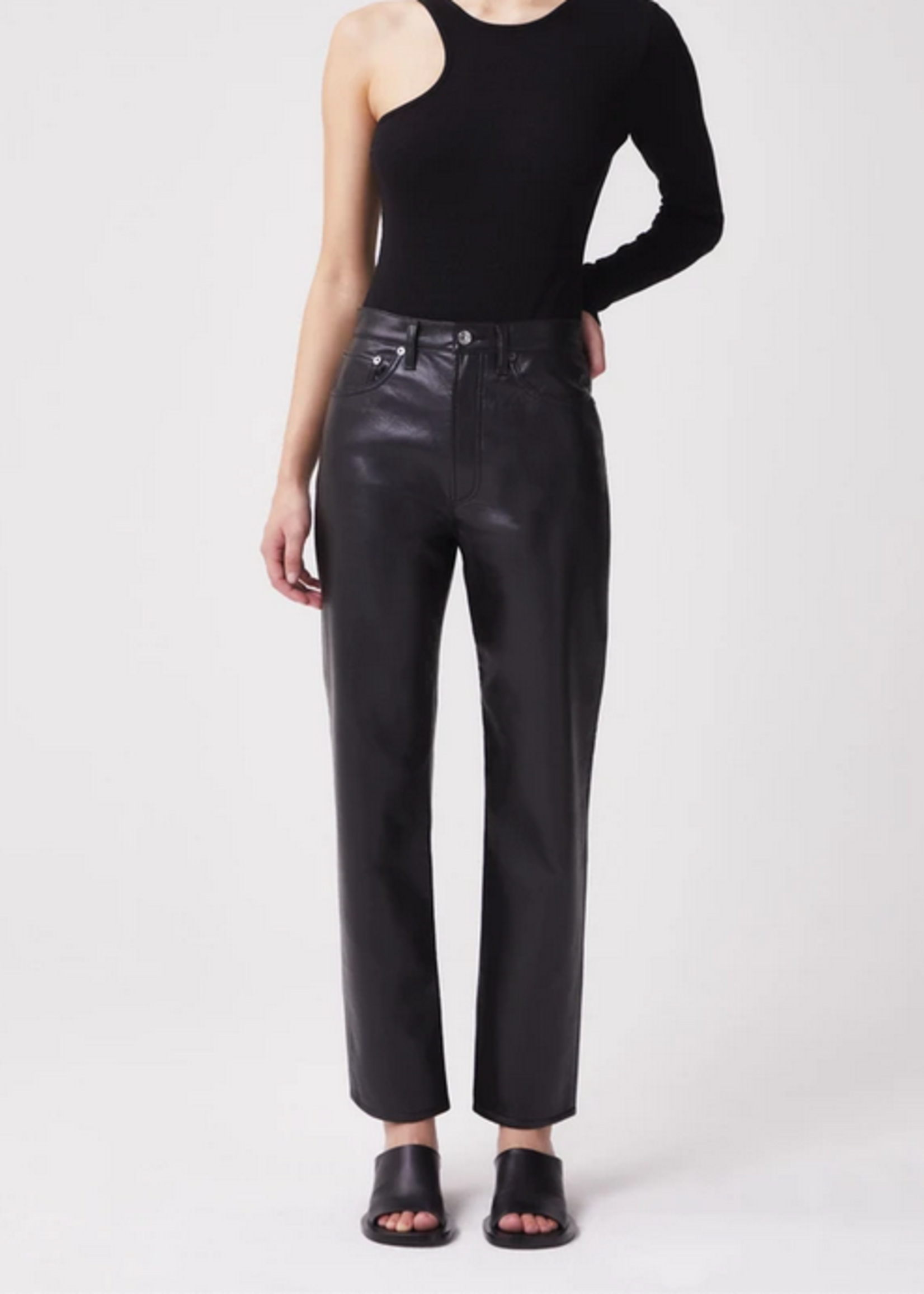 Elitaire Boutique Recycled Leather 90's Pinch Waist Pant