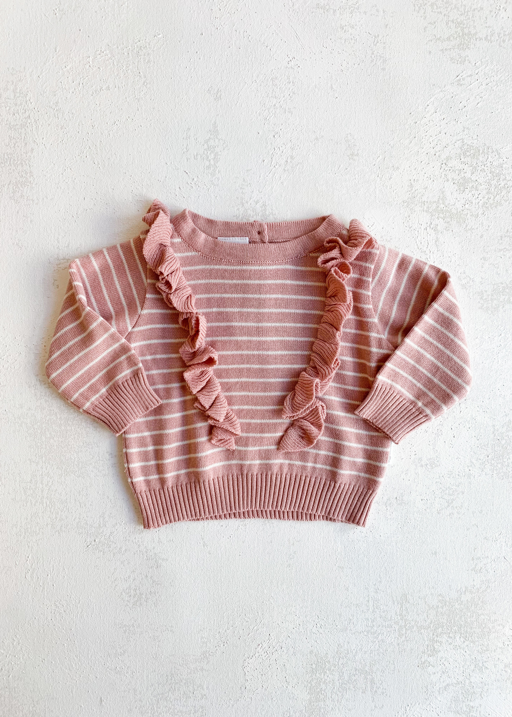 Elitaire Petite Striped Frill Sweater in Pink