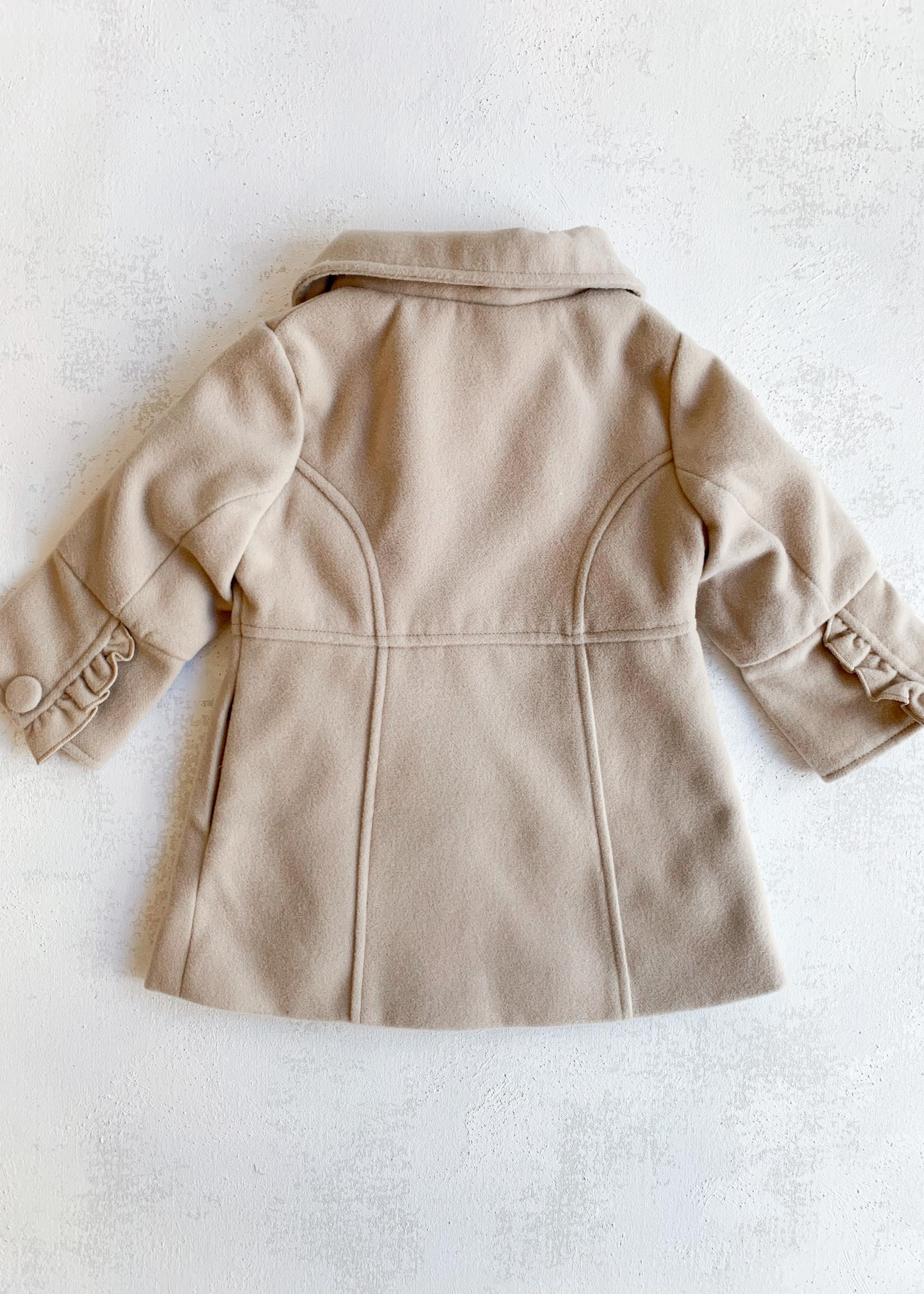 Elitaire Petite Frill Overcoat in Beige