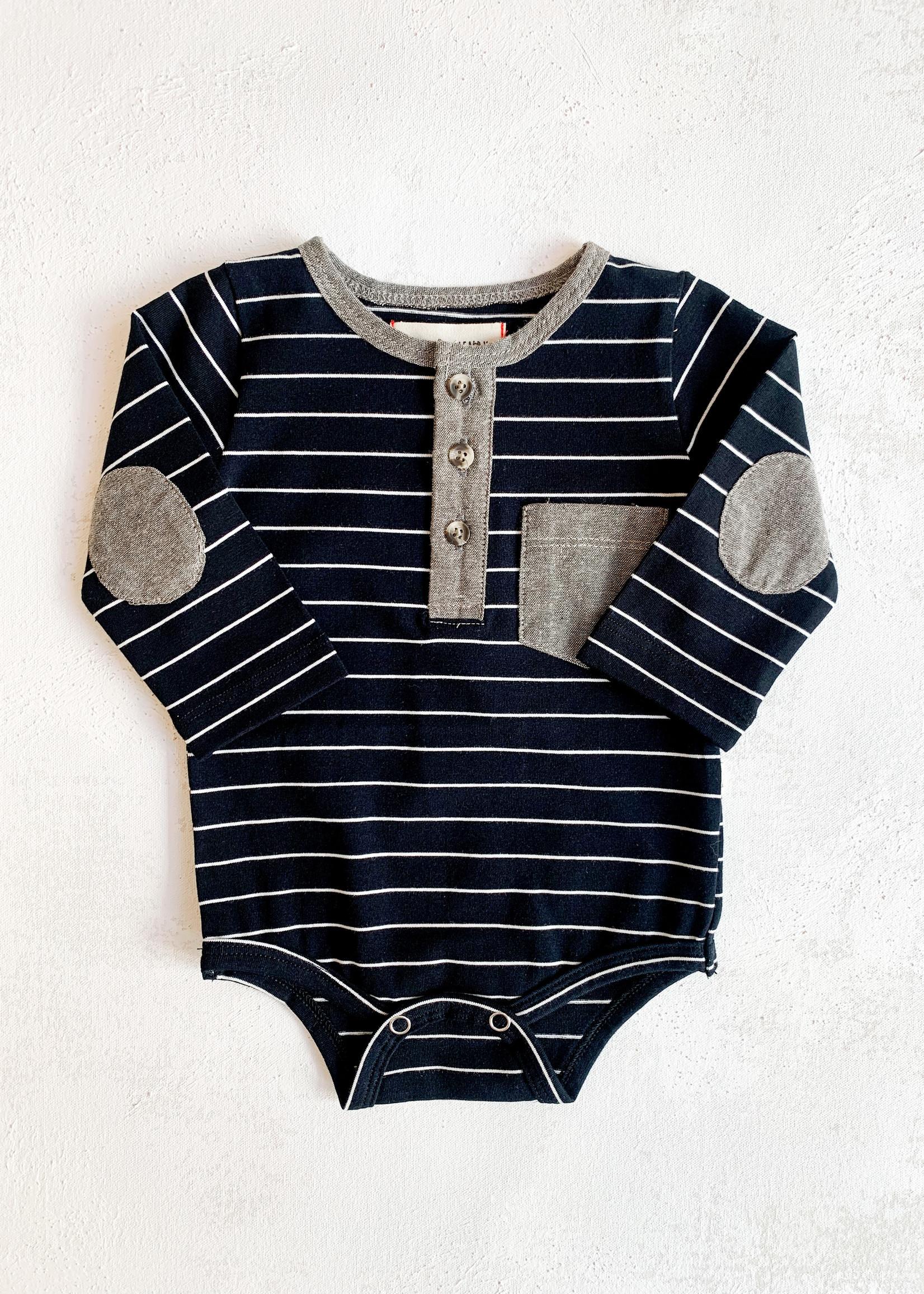 Elitaire Petite Henley Onesie in Black Stripe