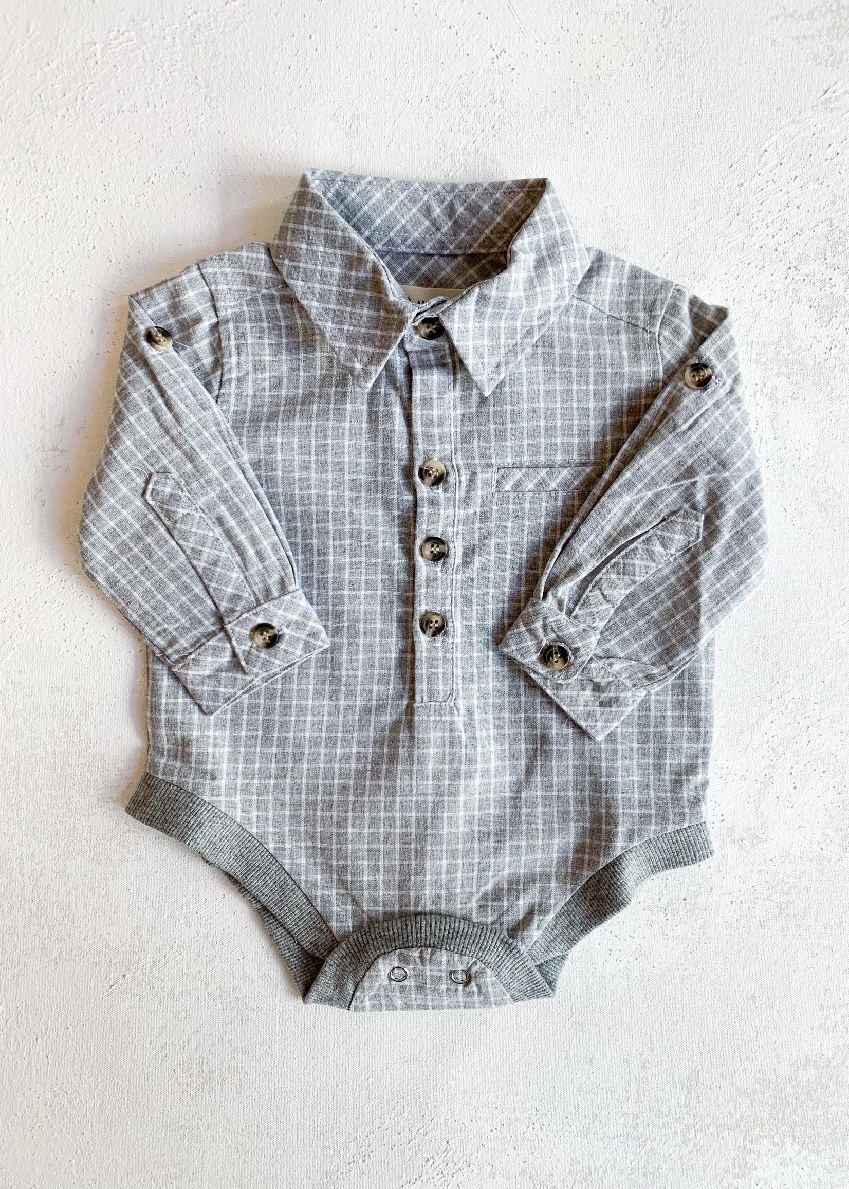 Elitaire Petite Jasper Grey Grid Onesie