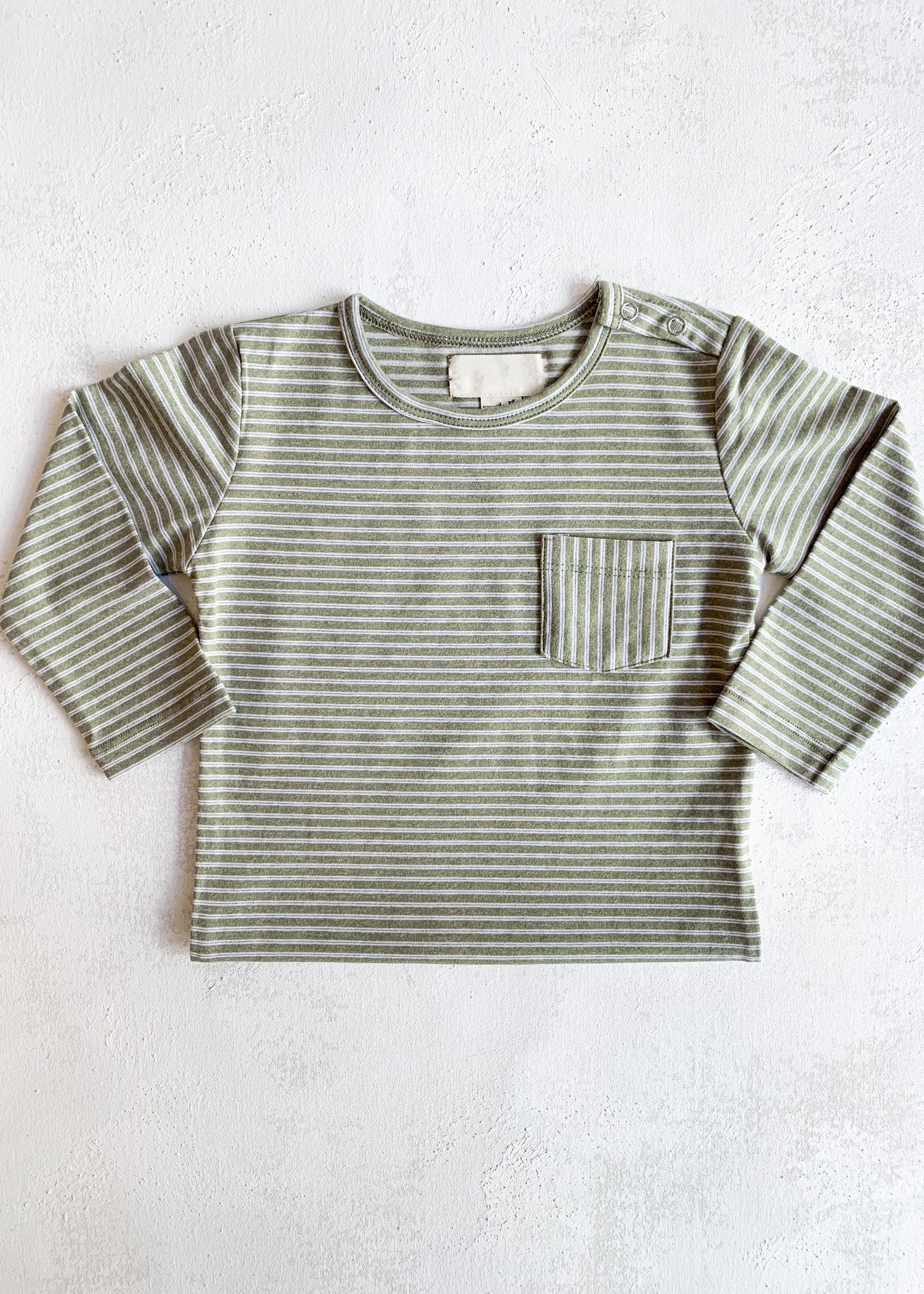 Elitaire Petite Classic Striped Onesie in Olive