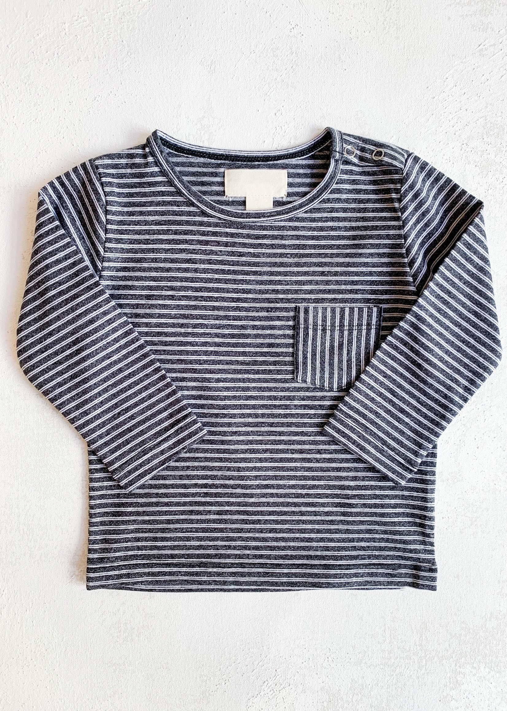 Elitaire Petite Classic Striped Onesie in Charcoal