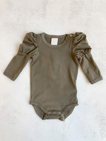 Elitaire Petite Puff Sleeve Bodysuit in Chincilla