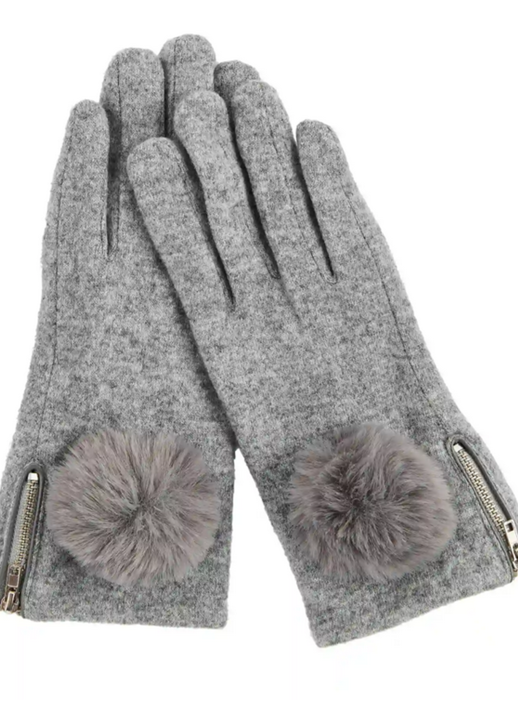 Elitaire Boutique Zippered Poof Glove in Grey