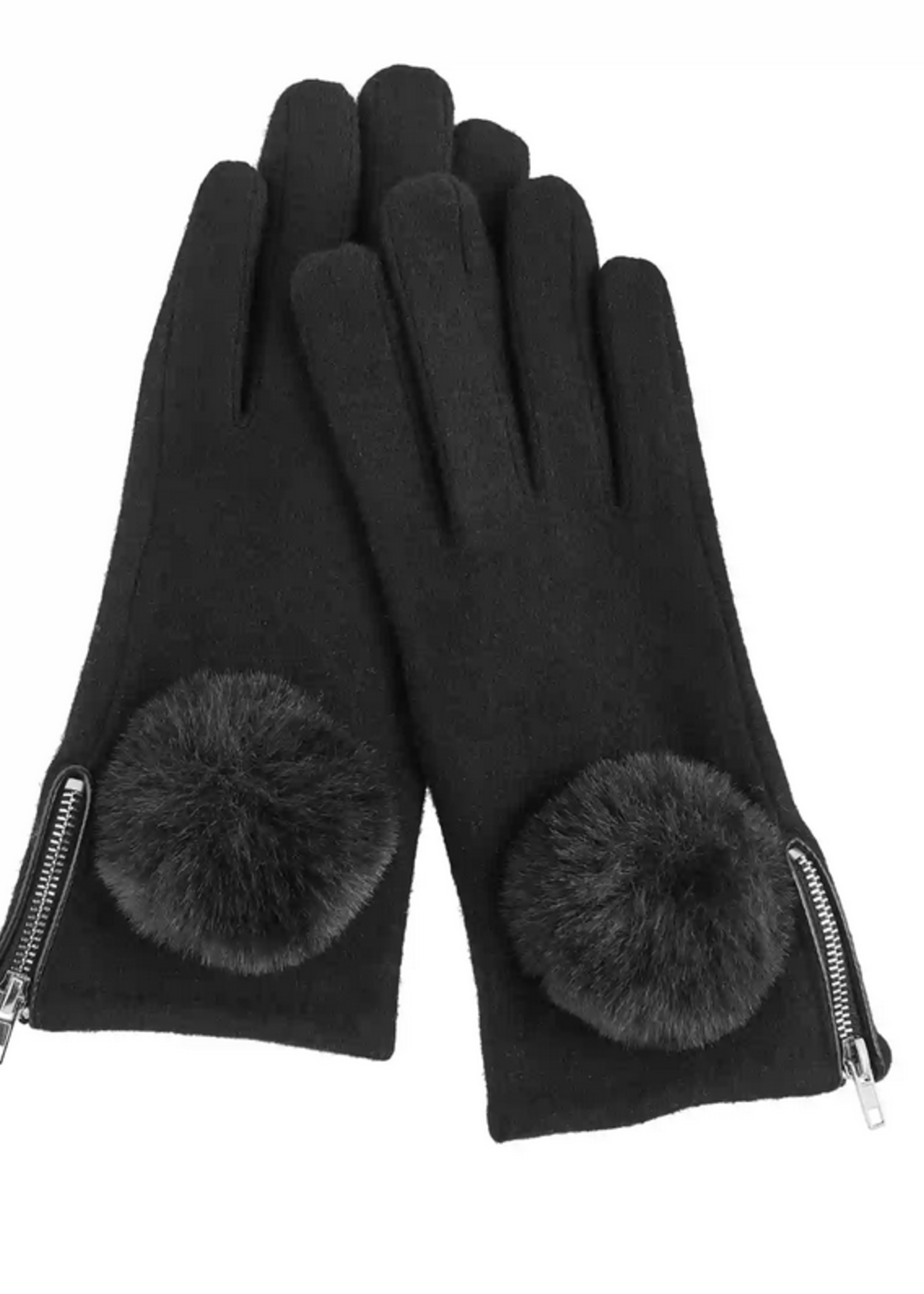 Elitaire Boutique Zippered Poof Glove in Black