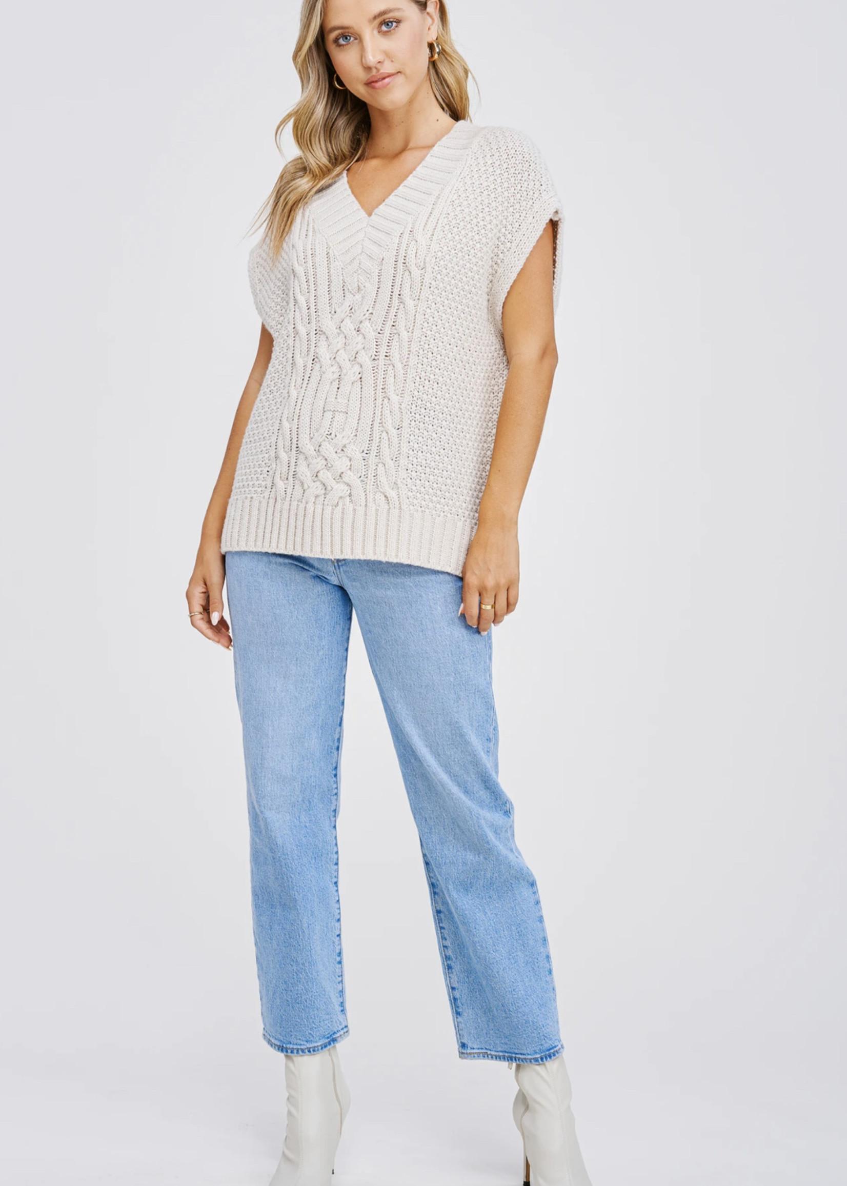Elitaire Boutique Cable Cream Knit Vest