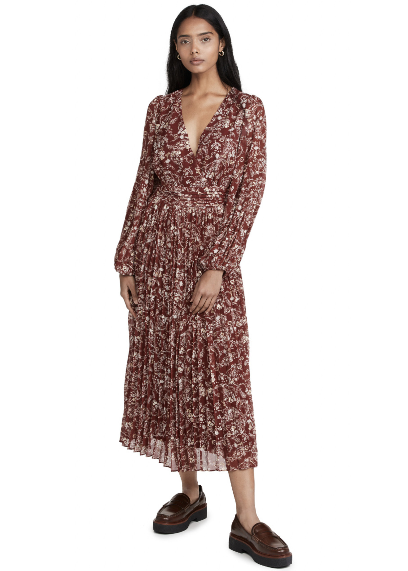 Elitaire Boutique Paisley Printed Dress in Rust