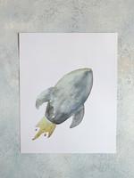 Elitaire Petite Rocket Ship Watercolor