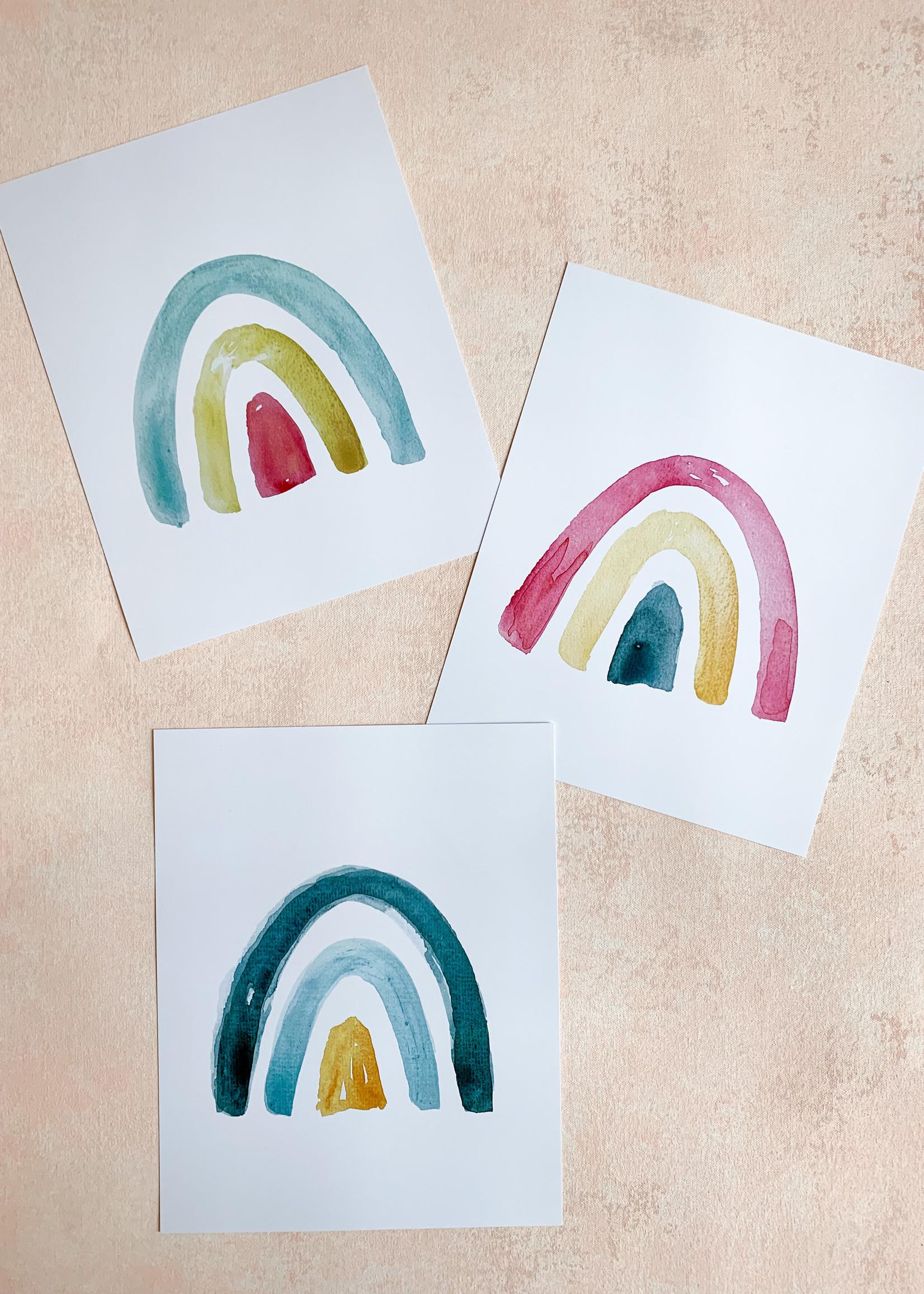 Elitaire Petite Tri Colored Watercolor Rainbow - Blue