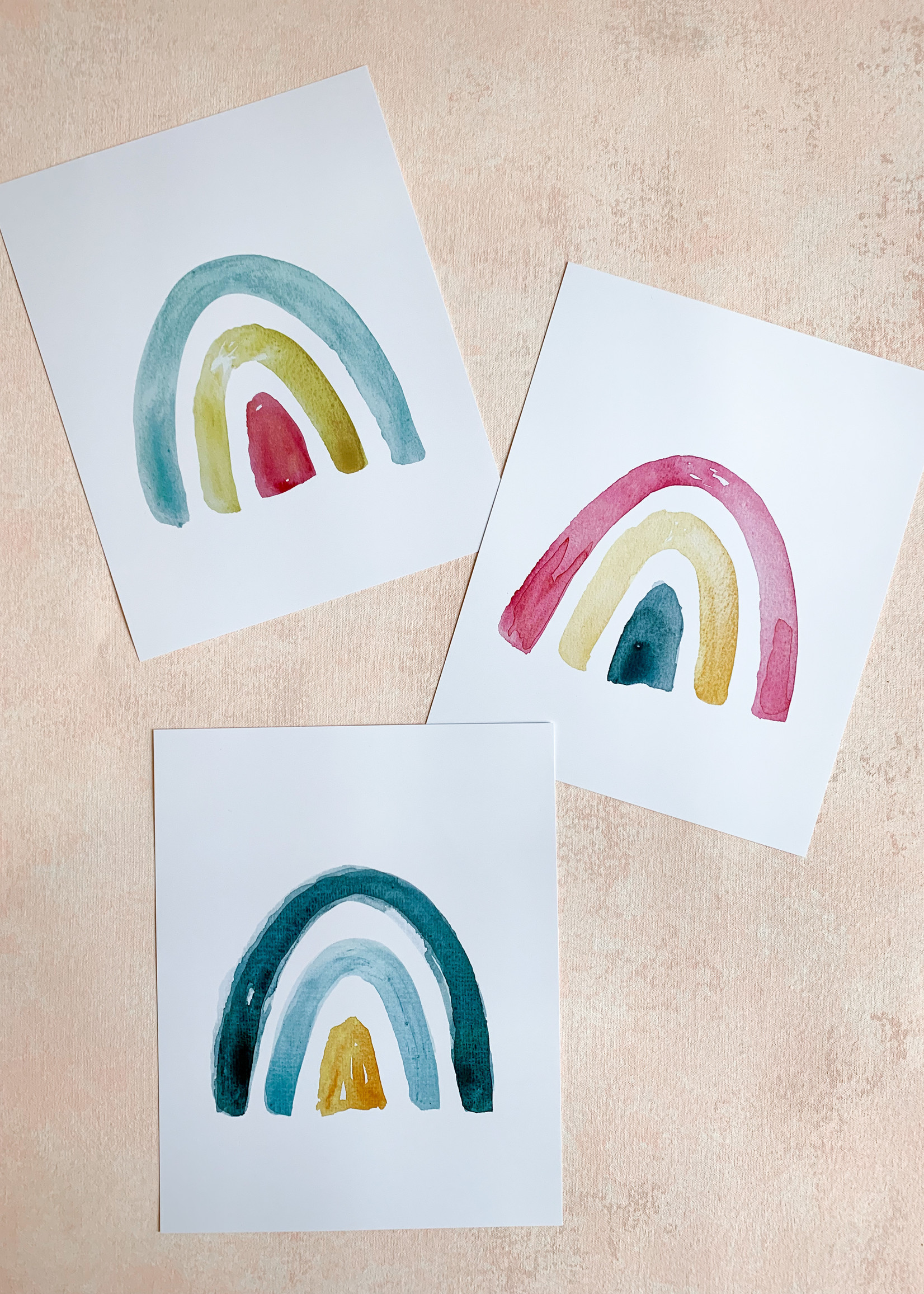 Elitaire Petite Tri Colored Watercolor Rainbow - Pink