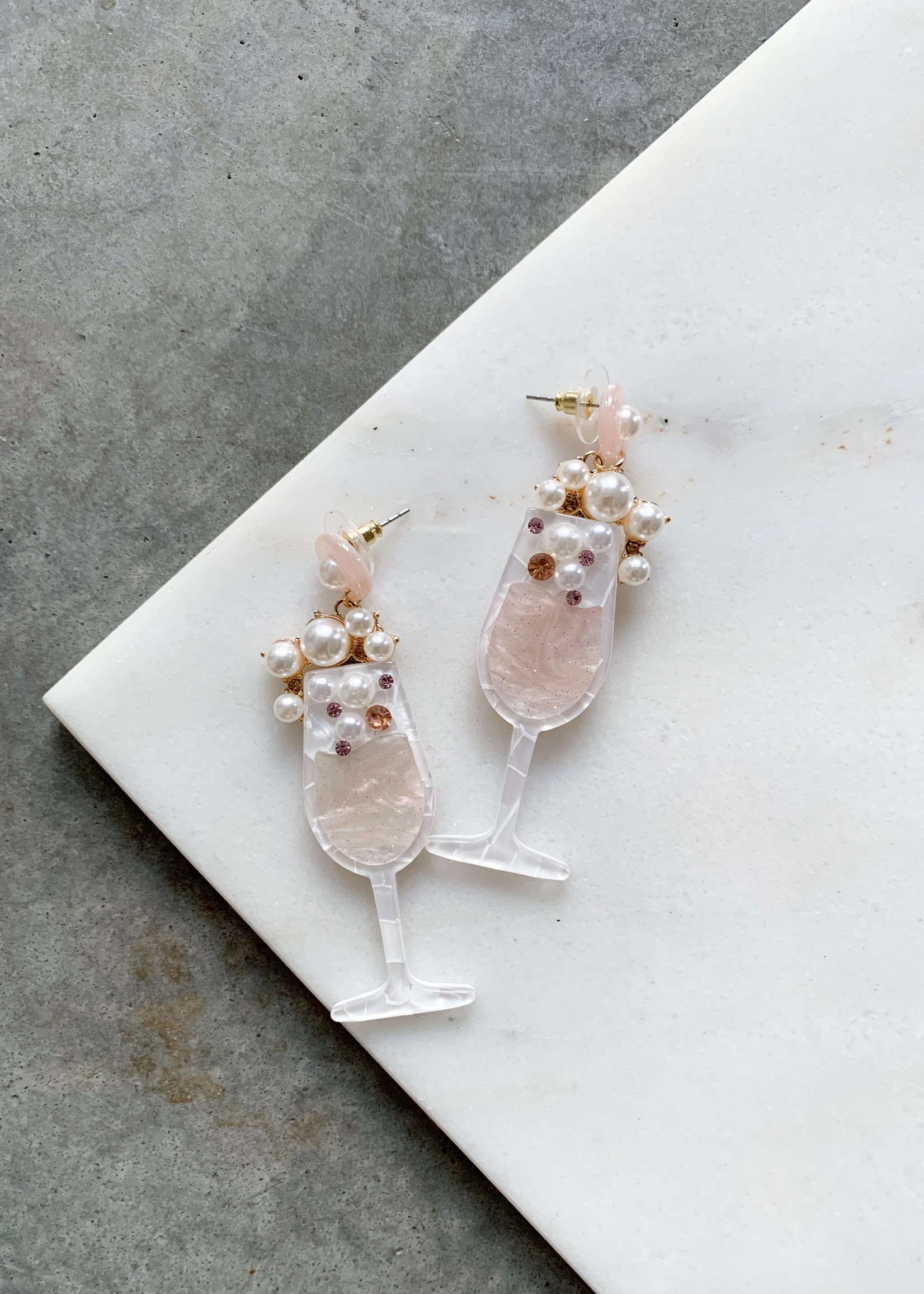 Elitaire Boutique Champagne Glass Earring