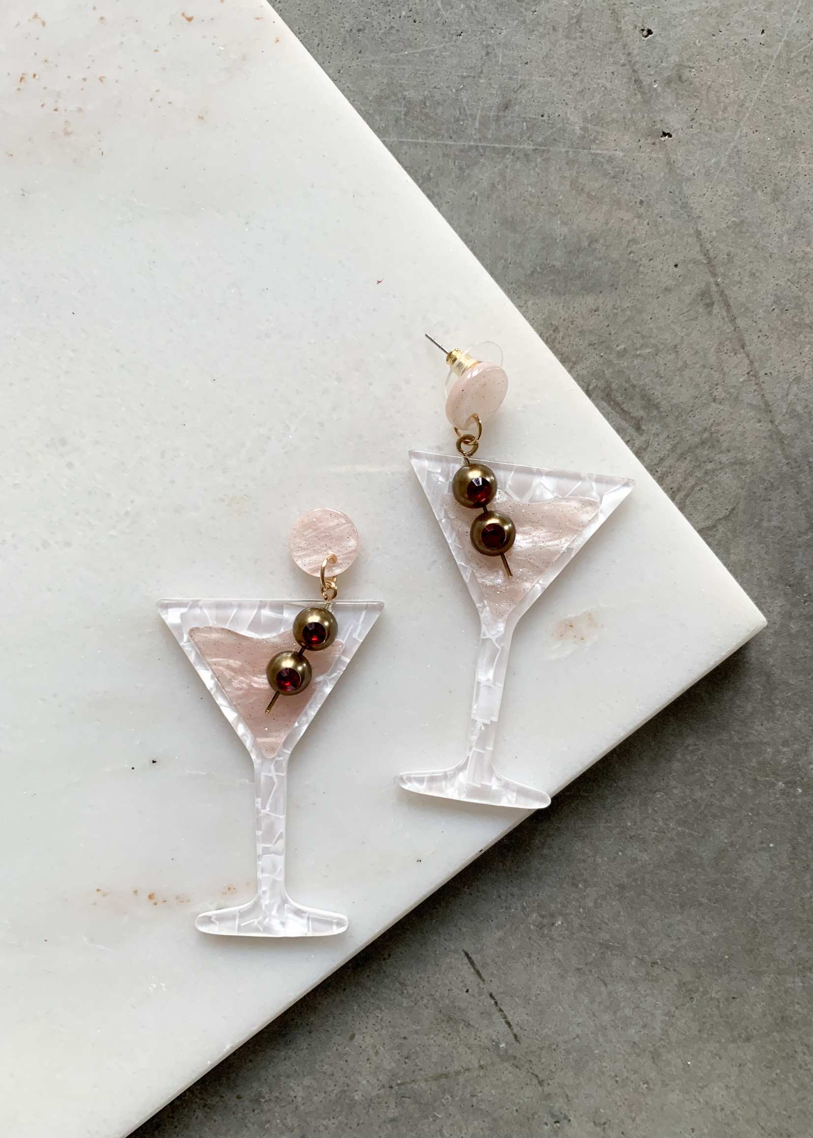 Elitaire Boutique Martini Acrylic Earrings