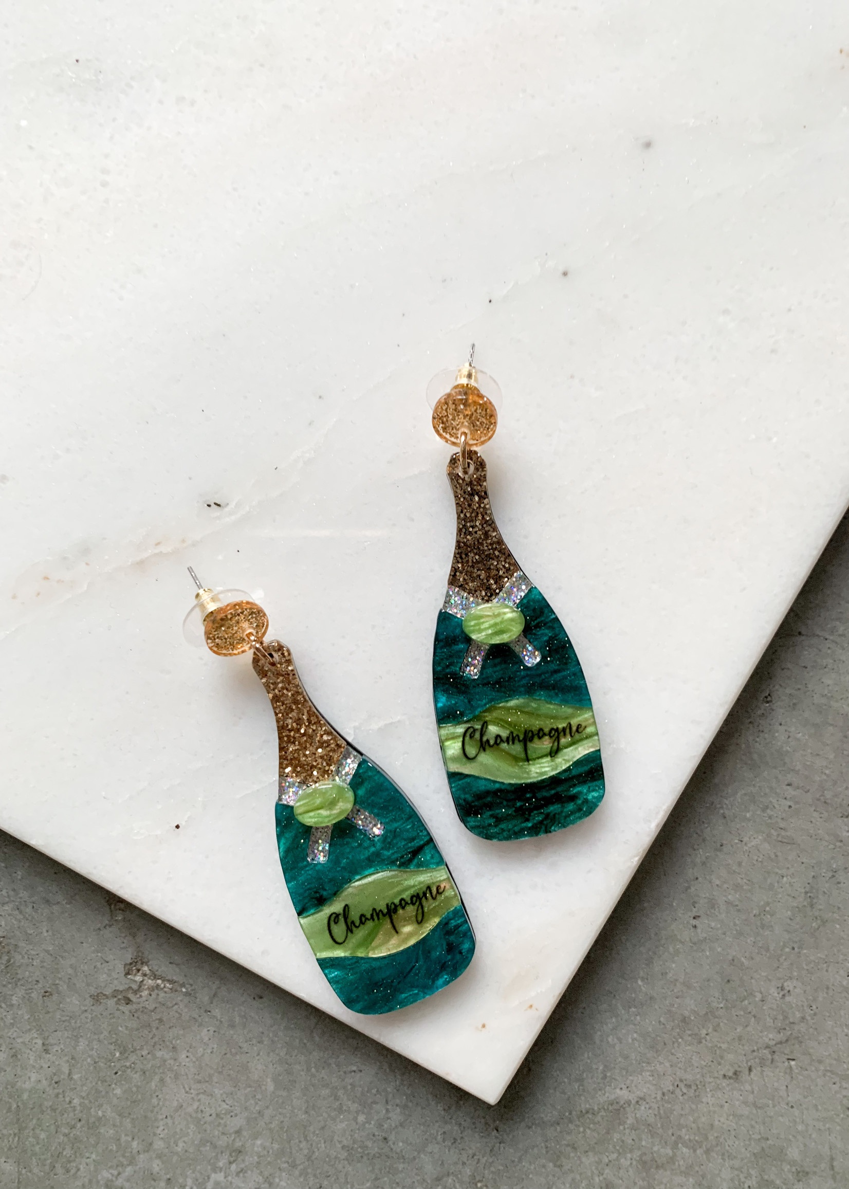 Elitaire Boutique Champagne Acrylic Earrings