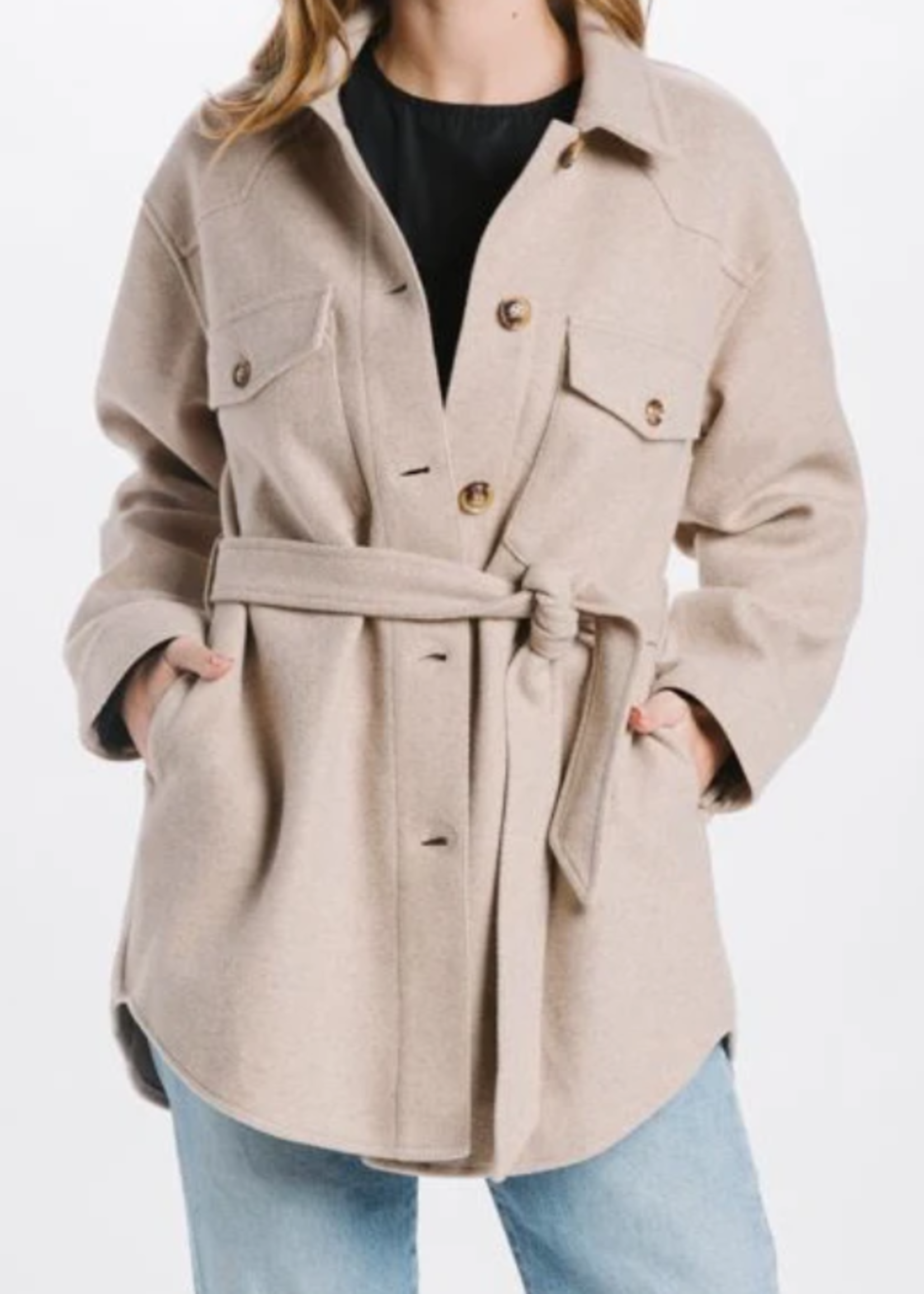 Elitaire Boutique Button Up Jacket in Natural