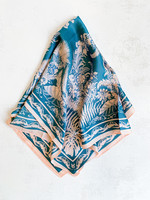 Elitaire Boutique Fern Leaf Scarf in Pink & Teal