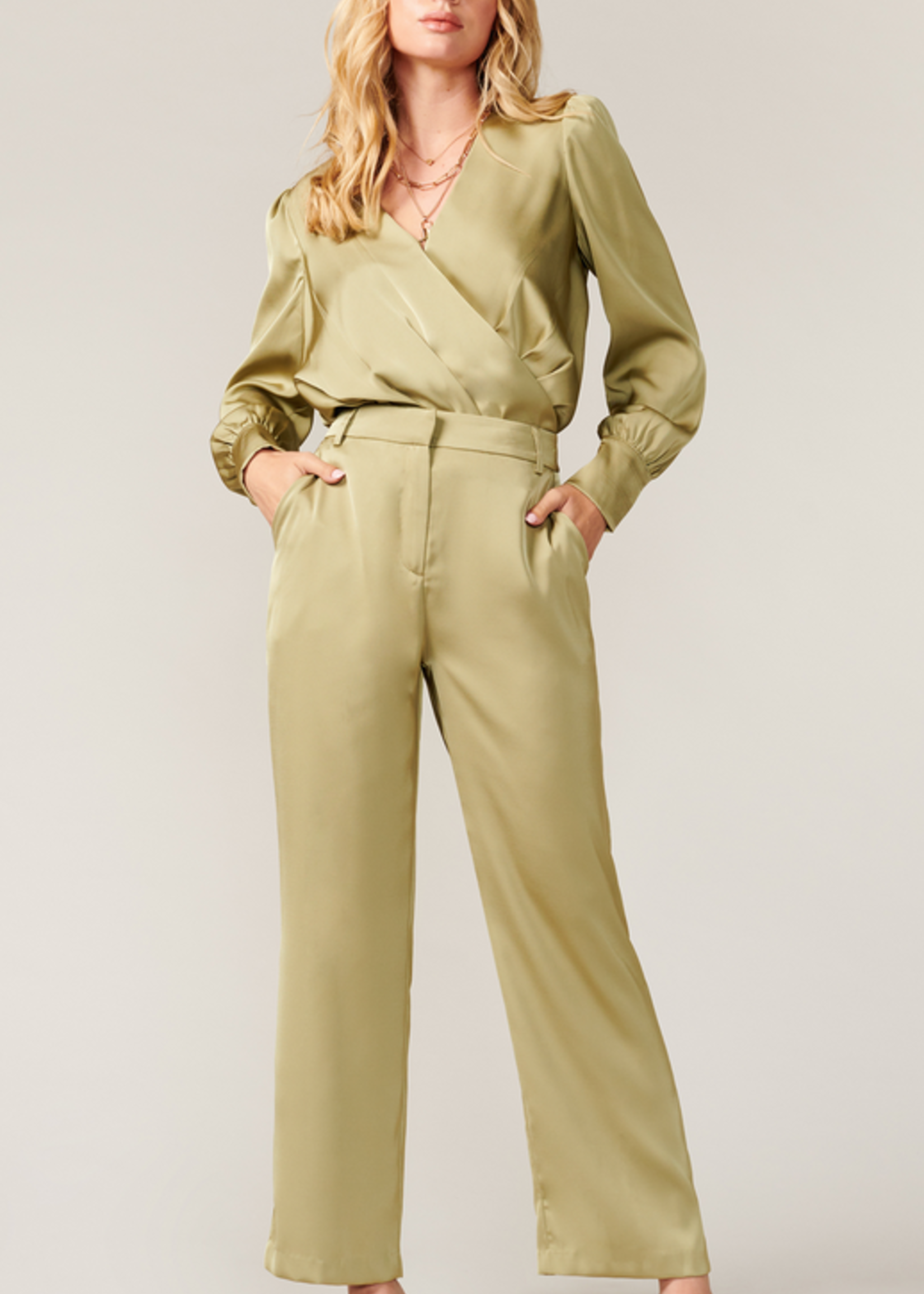 Elitaire Boutique Dylan Matte Sateen Pant in Sage