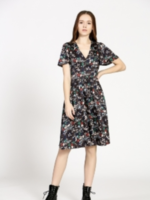 Elitaire Boutique Navy Floral Midi Dress