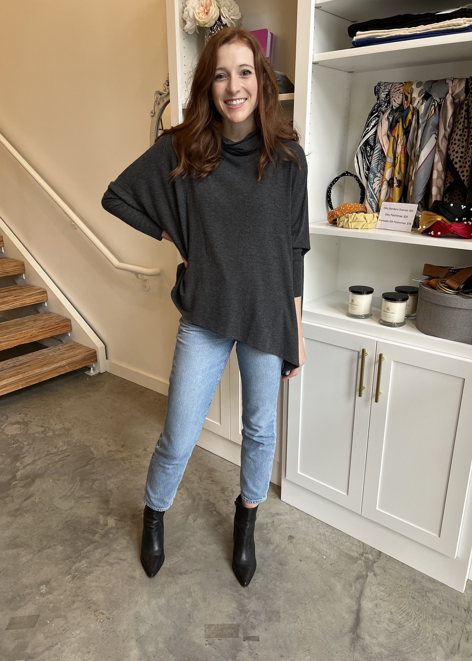 Elitaire Boutique Cowl Neck Sweater in Charcoal